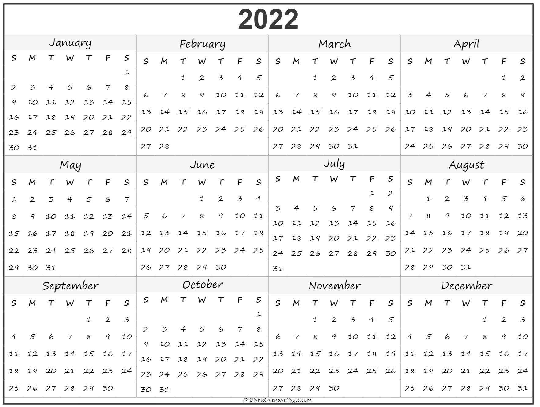 Collect Blank Year Long Calendar 2022 ⋆ The Best Printable Calendar Collection-Free Fill In Calendars 2021
