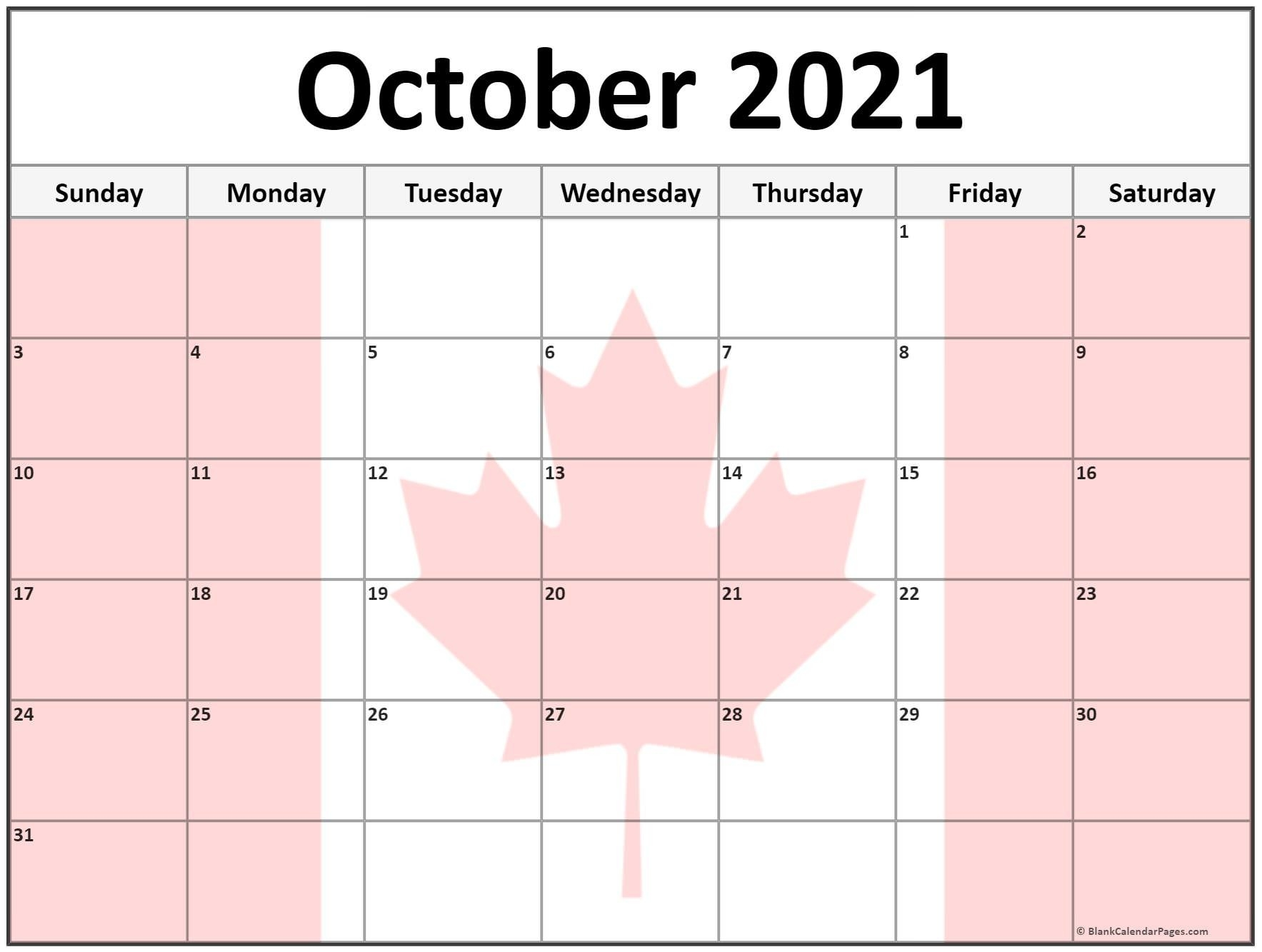 Collection Of October 2021 Photo Calendars With Image Filters.-Monthly Calendar Printable October 2021