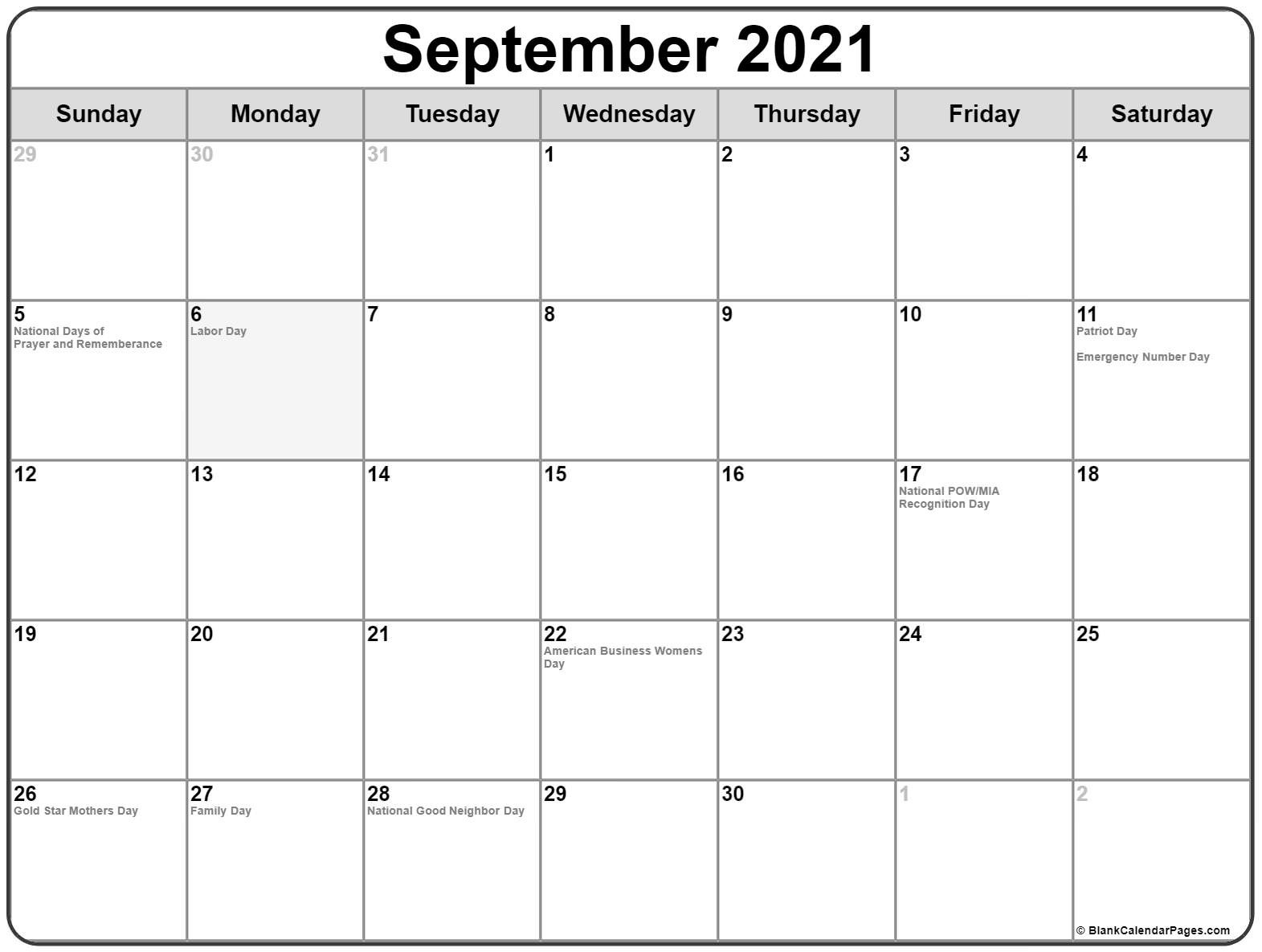 Collection Of September 2021 Calendars With Holidays-Monthly Calendar Printable October 2021