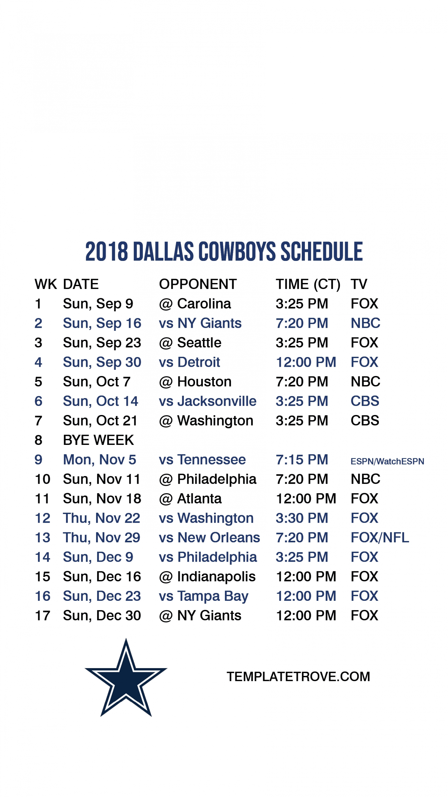 Cowboys Printable Schedule That Are Nifty | Brad Website-Printable Monthly Blank Calendars Showing Nfl Games