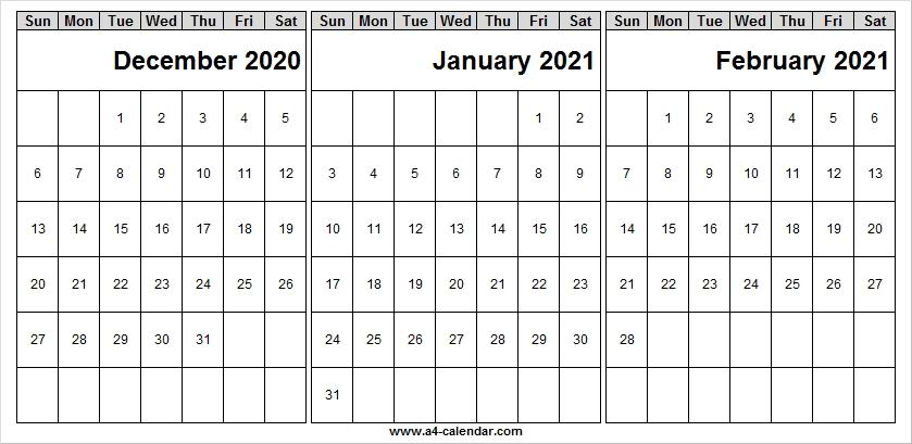 December 2020 To February 2021 Calendar Blank - Month Of Dec 2020-2021 4 Shift Calendar