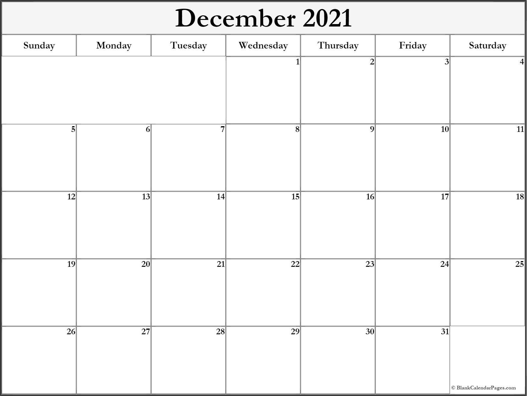 December 2021 Blank Calendar Templates.-2021 Printable Calendar From October Thru December