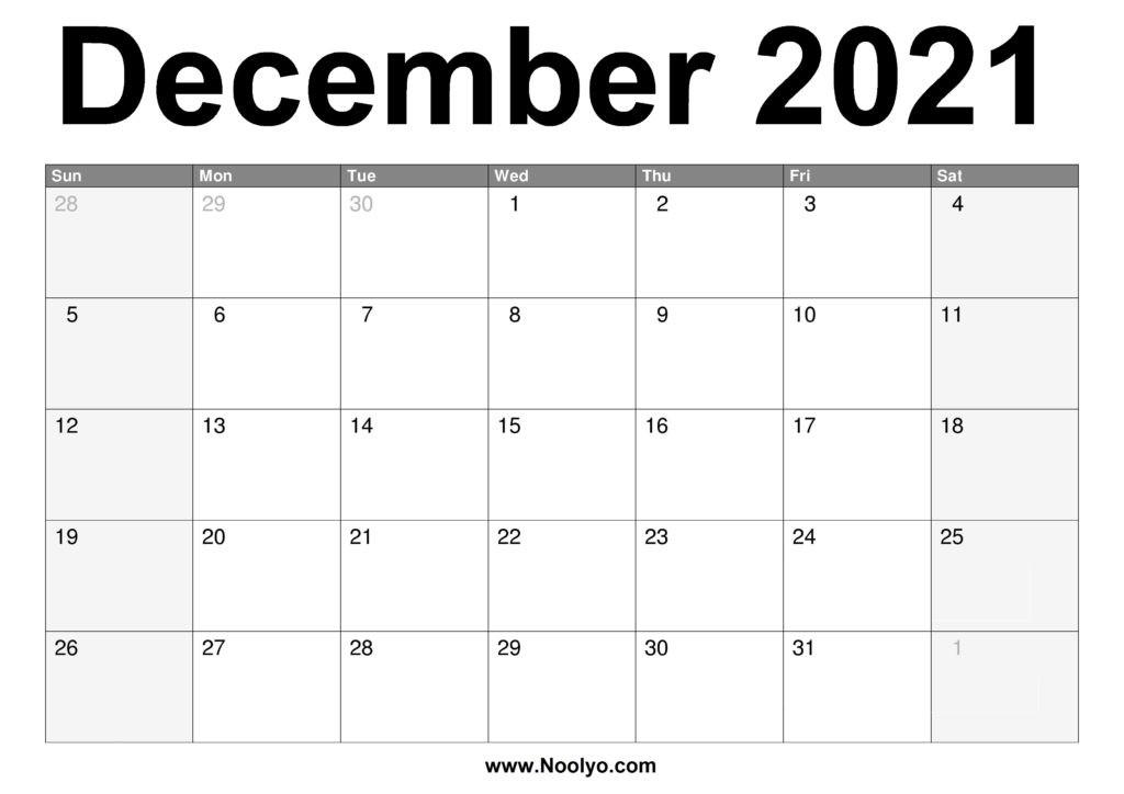 December 2021 Calendar Printable – Free Download – Noolyo-Festive Printable Calendar 2021