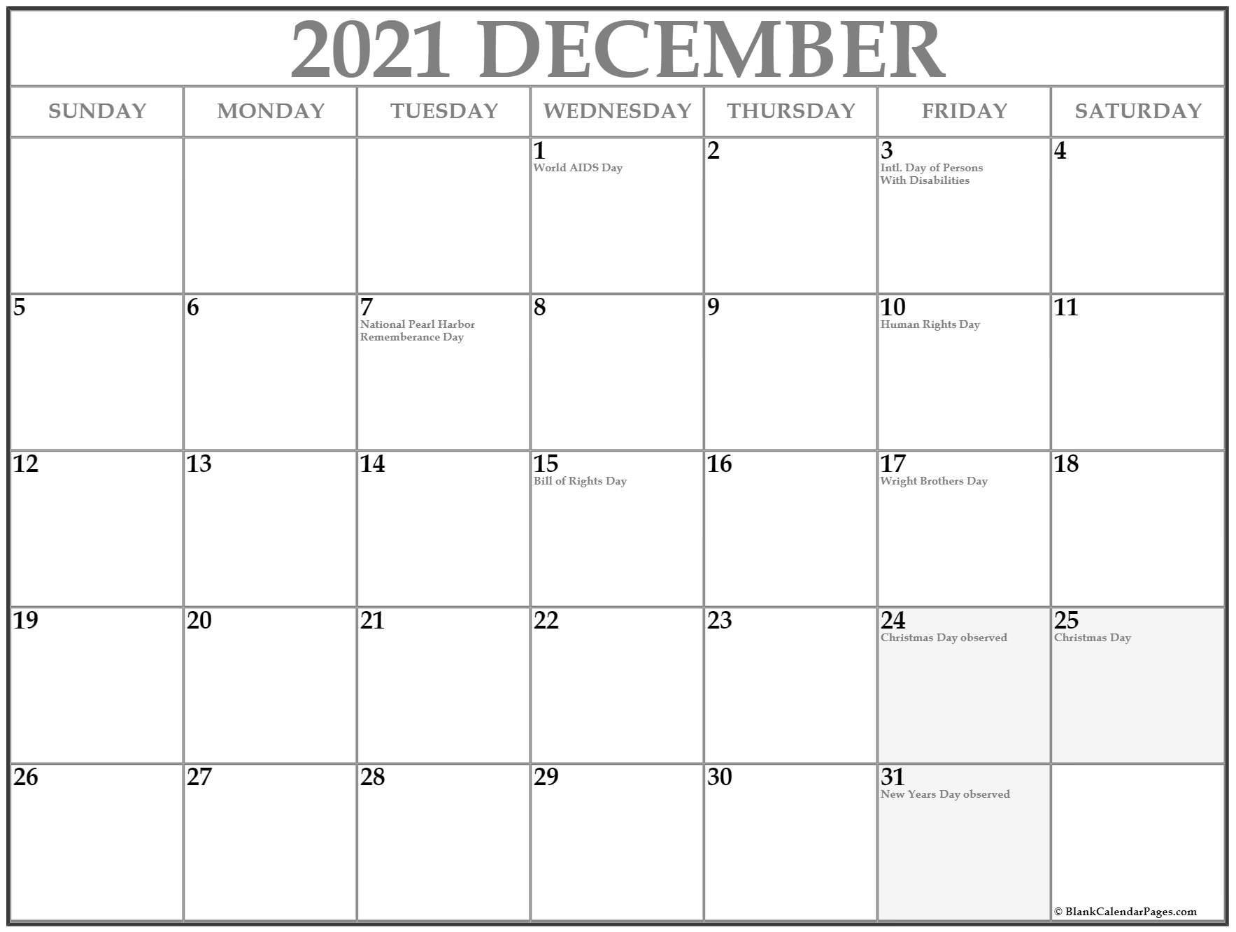 December Calendar 2021 All Free Printable Vertex ...