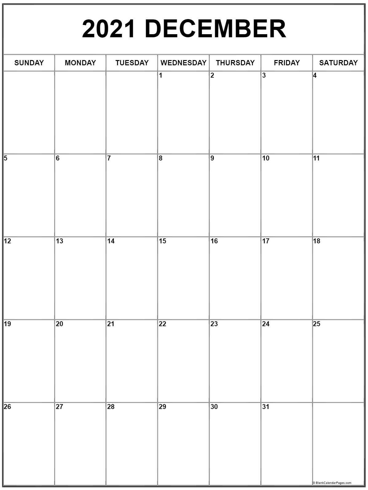 December 2021 Vertical Calendar | Portrait-2021 Printable Calendar From October Thru December