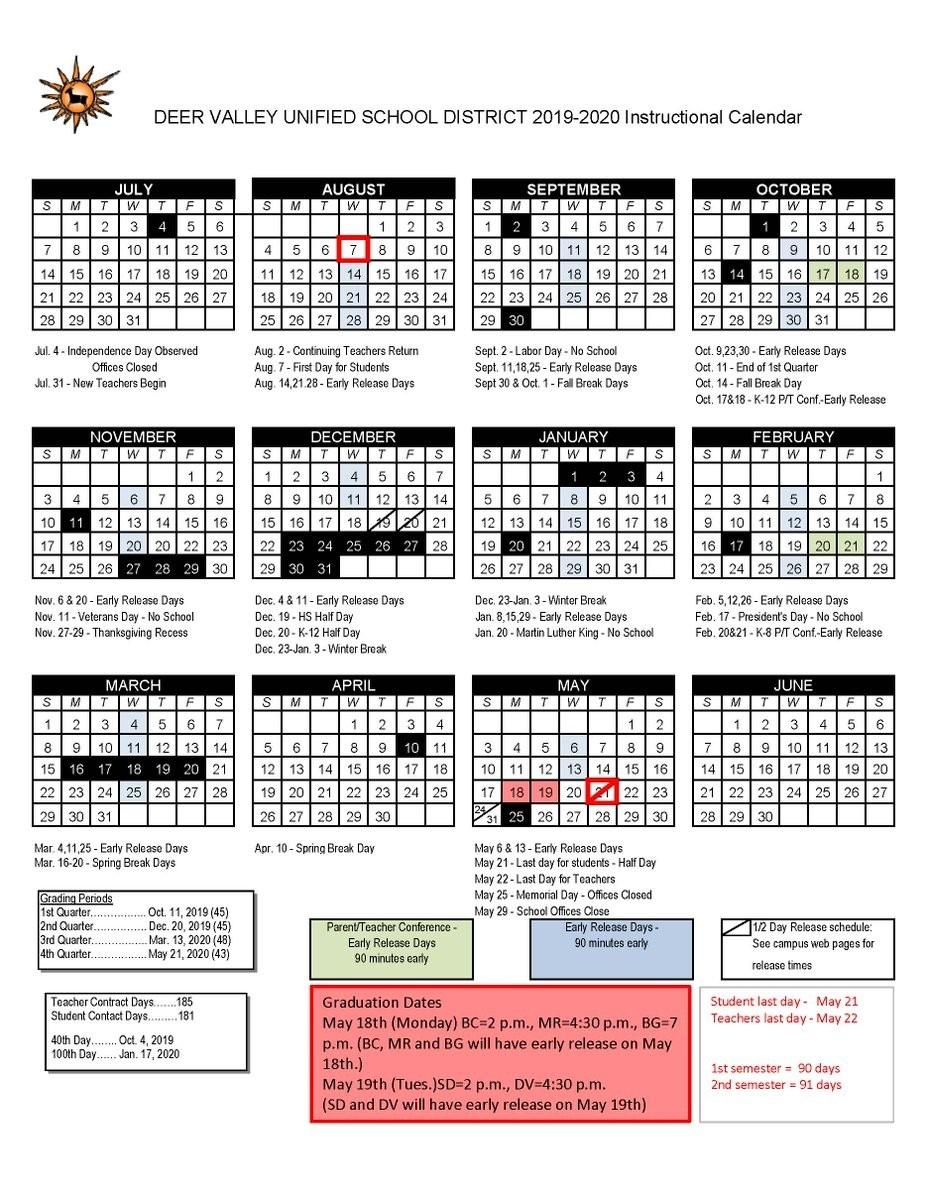 Deer Valley Unified School District Calendar | Printable Calendar 2020-2021-Indiana 2021 Deer Calender