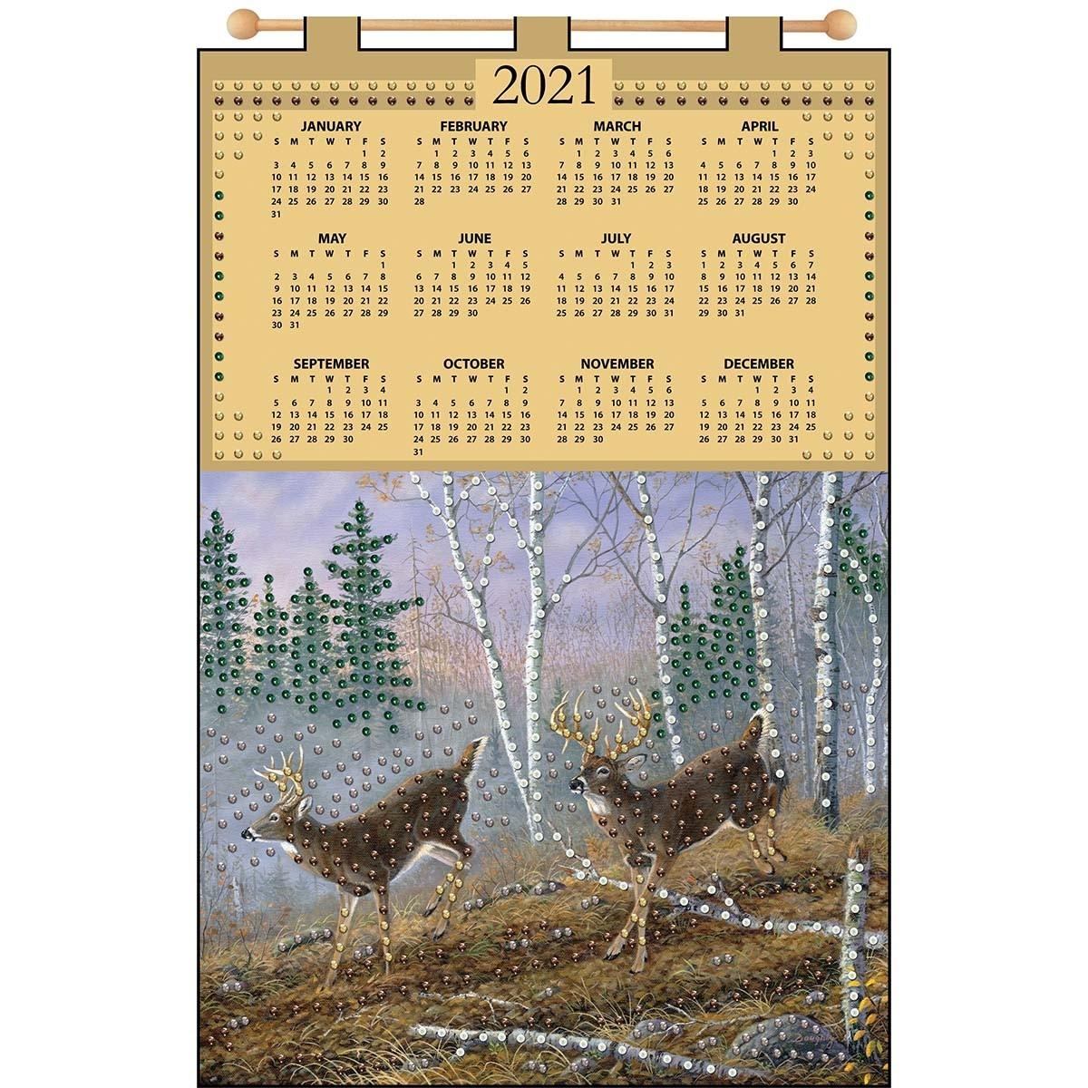 Design Works™ Deer 2021 Calendar Felt & Sequin Kit - Walmart - Walmart-Indiana 2021 Deer Calender