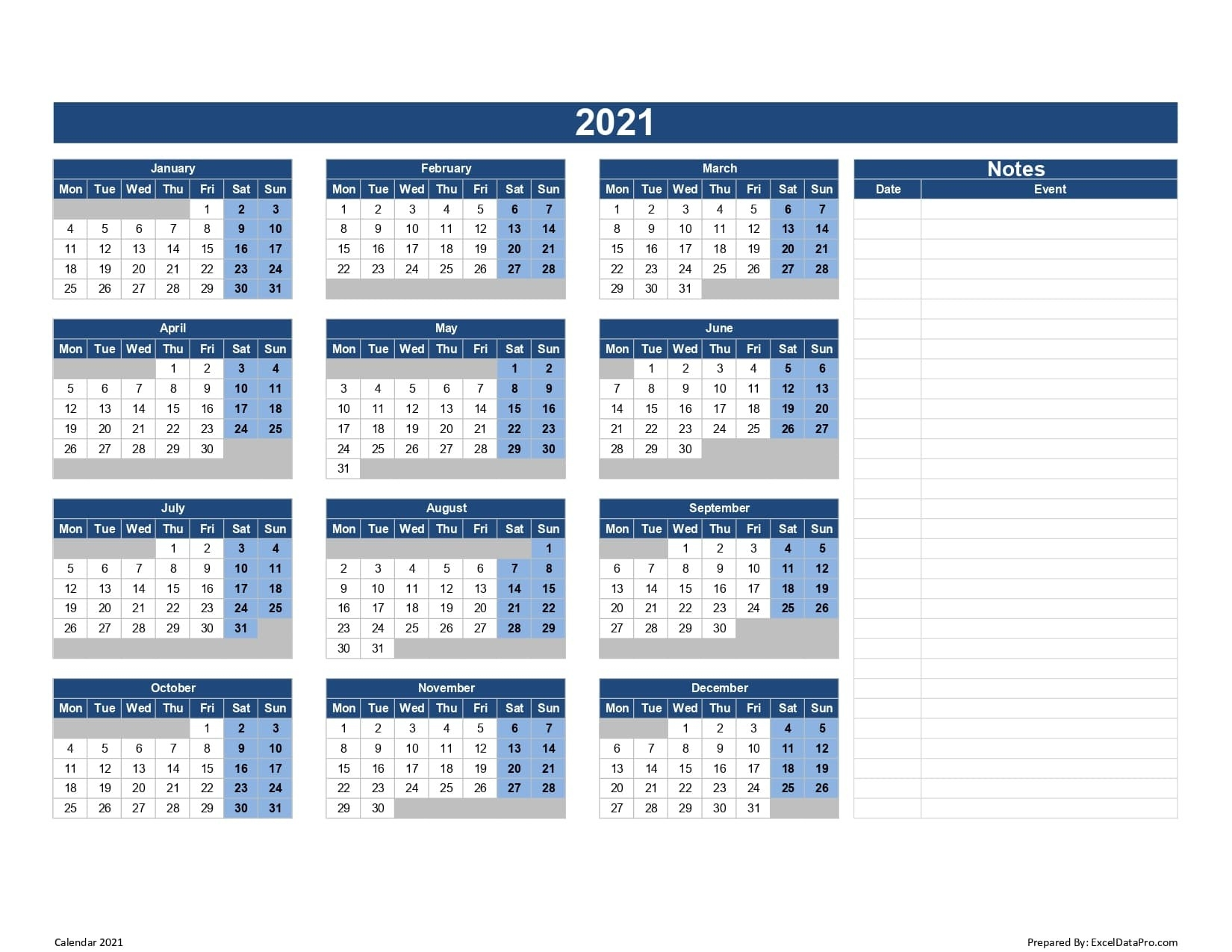 Download 2021 Yearly Calendar (Mon Start) Excel Template - Exceldatapro-2021 Calendar Fill In