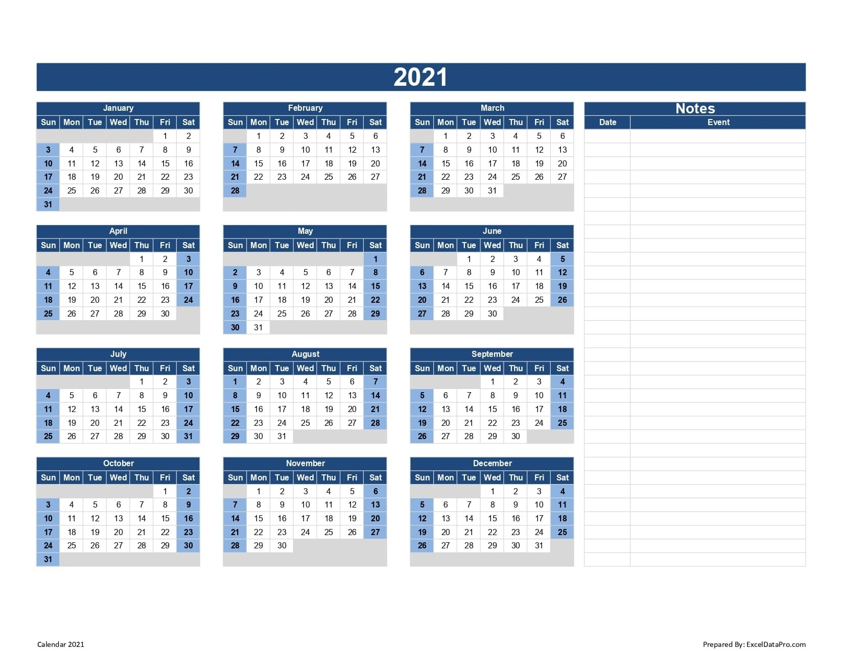 Download 2021 Yearly Calendar (Sun Start) Excel Template - Exceldatapro-2021 Calendar Fill In