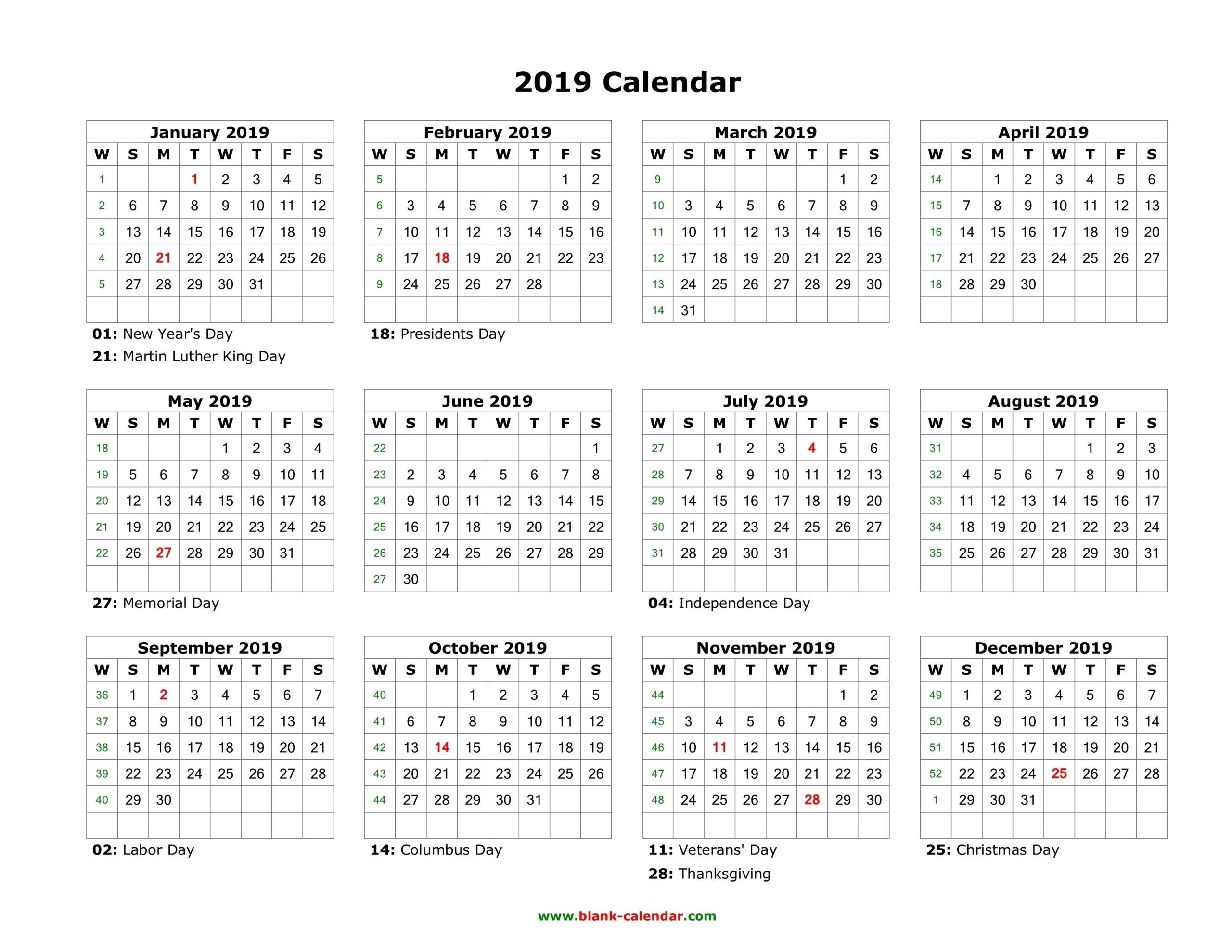 Download Blank Calendar 2019 With Us Holidays (12 Months On One Page Free | Calendar 2019-Free Fill In Calendar 2021