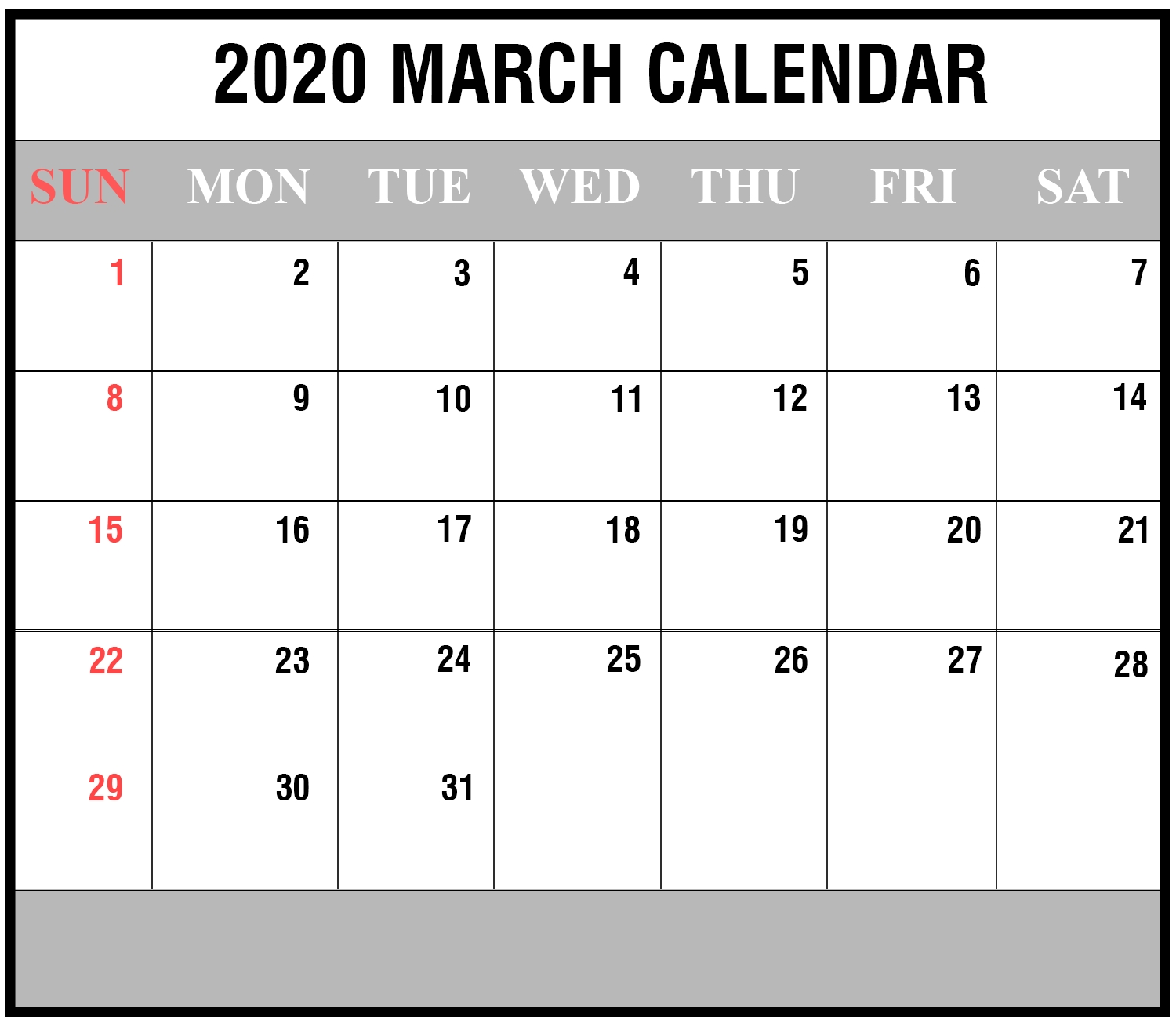 Download Free March 2020 Printable Calendar In Pdf Excel & Word-Printable Fill In Calendar By Month