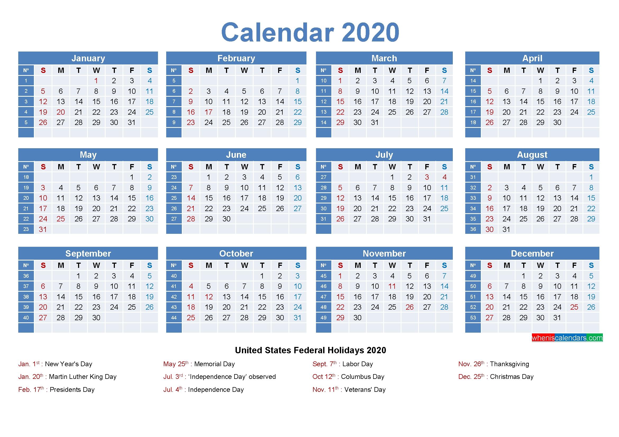 Editable Printable Calendar 2020 Word – Template No.ep20Y8 – Free Printable 2020 Monthly-Yearly Week Number Calendar Excel0.
