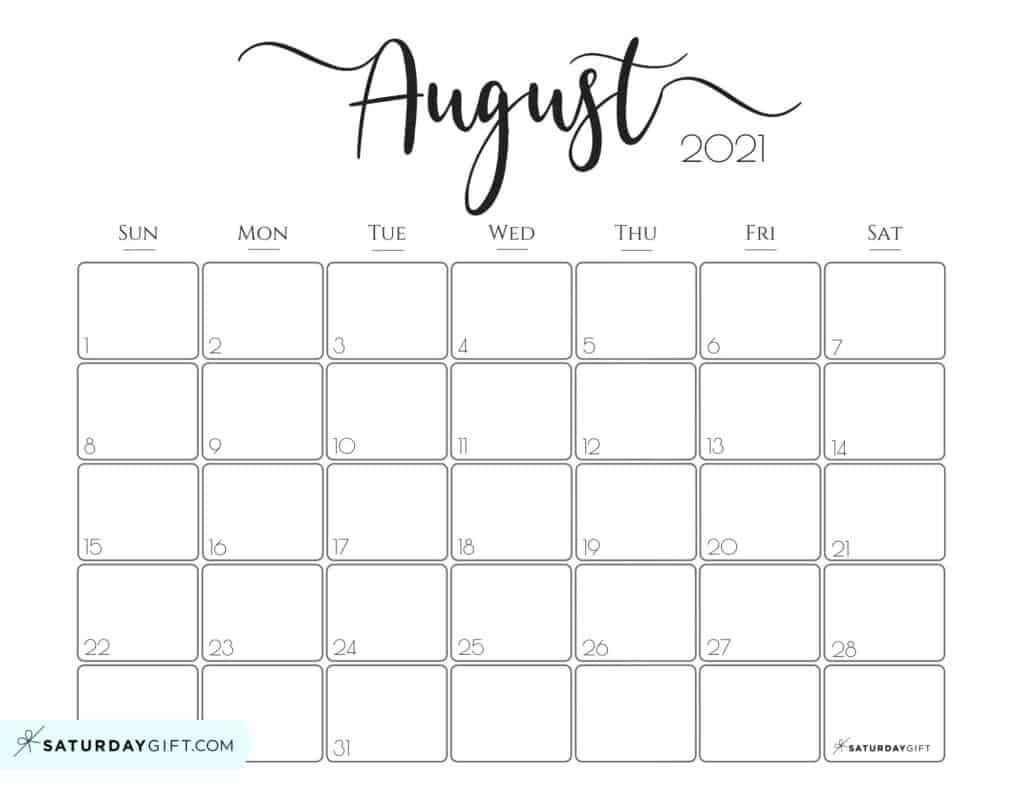 Elegant 2021 Calendar - Pretty Printable Monthly Calendars | Saturdaygift-Sunday To Saturday Monthly Calendar 2021