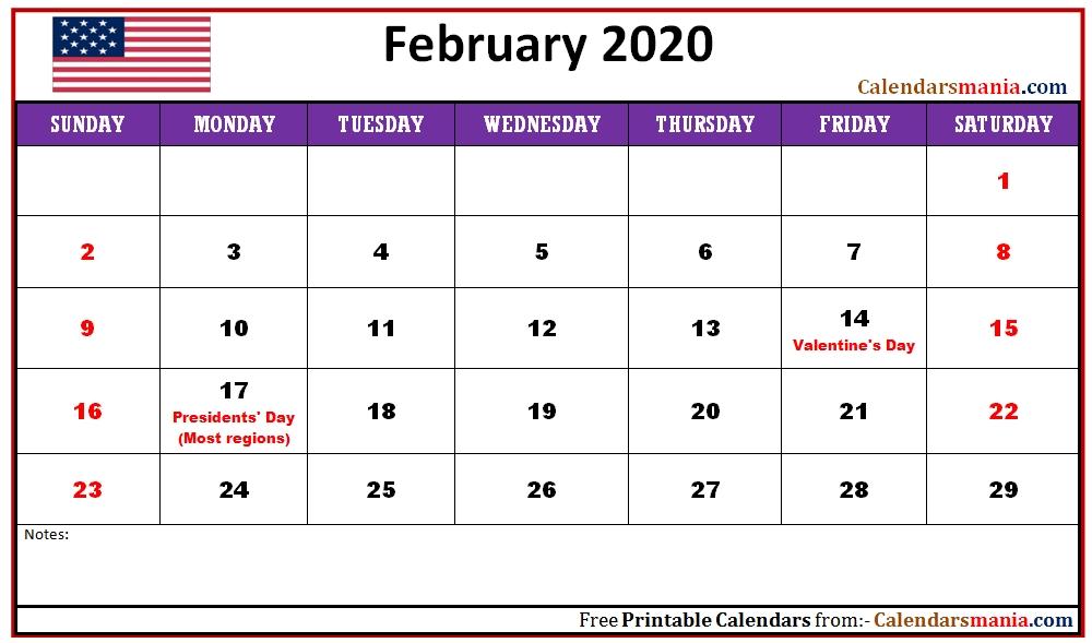 February 2020 Usa Holidays Calendar | Holiday Calendar, Usa Holidays, Calendar-Printable Monthly Blank Calendars Showing Nfl Games