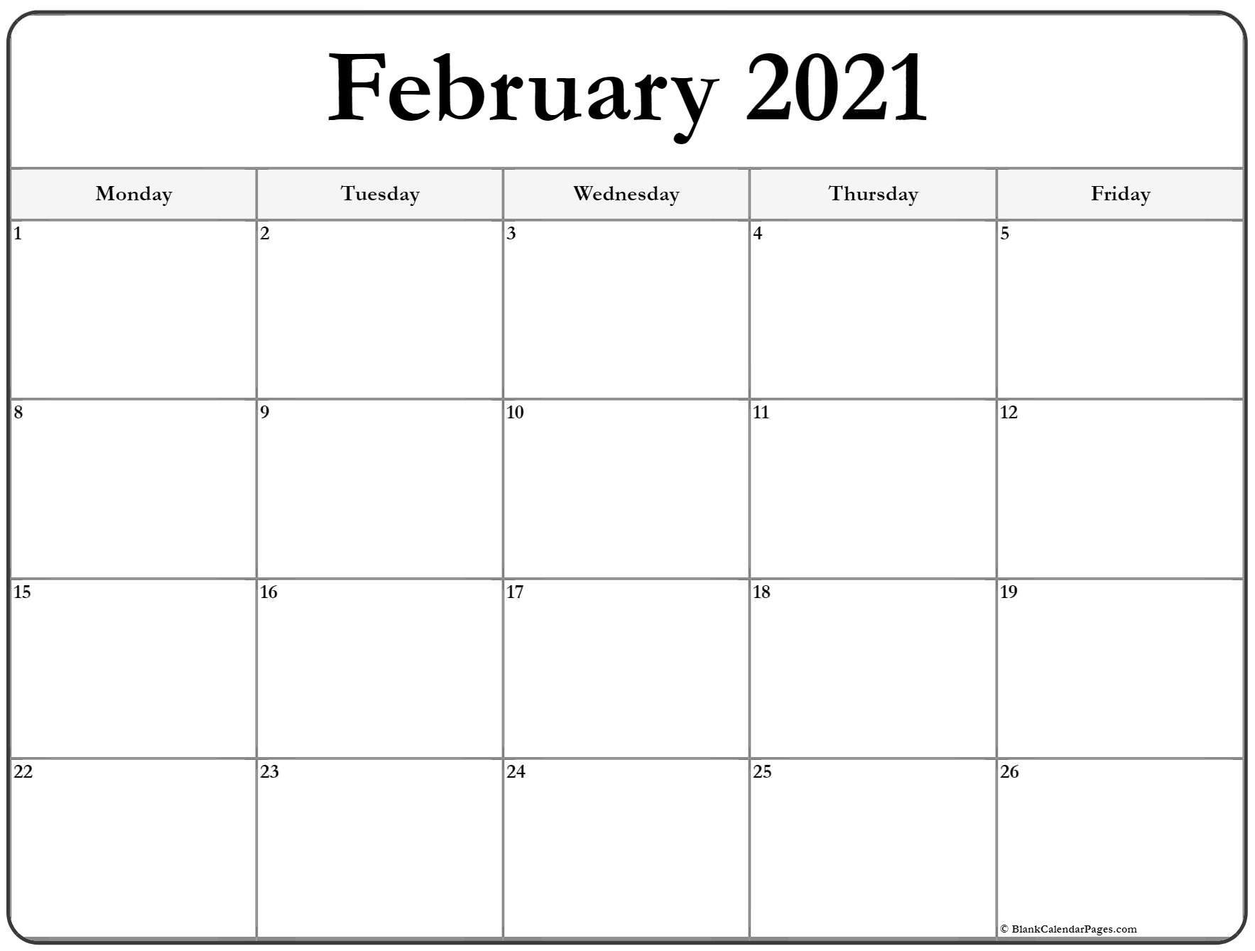 February 2021 Monday Calendar | Monday To Sunday-Sunday To Saturday Calendar 2021 Printable