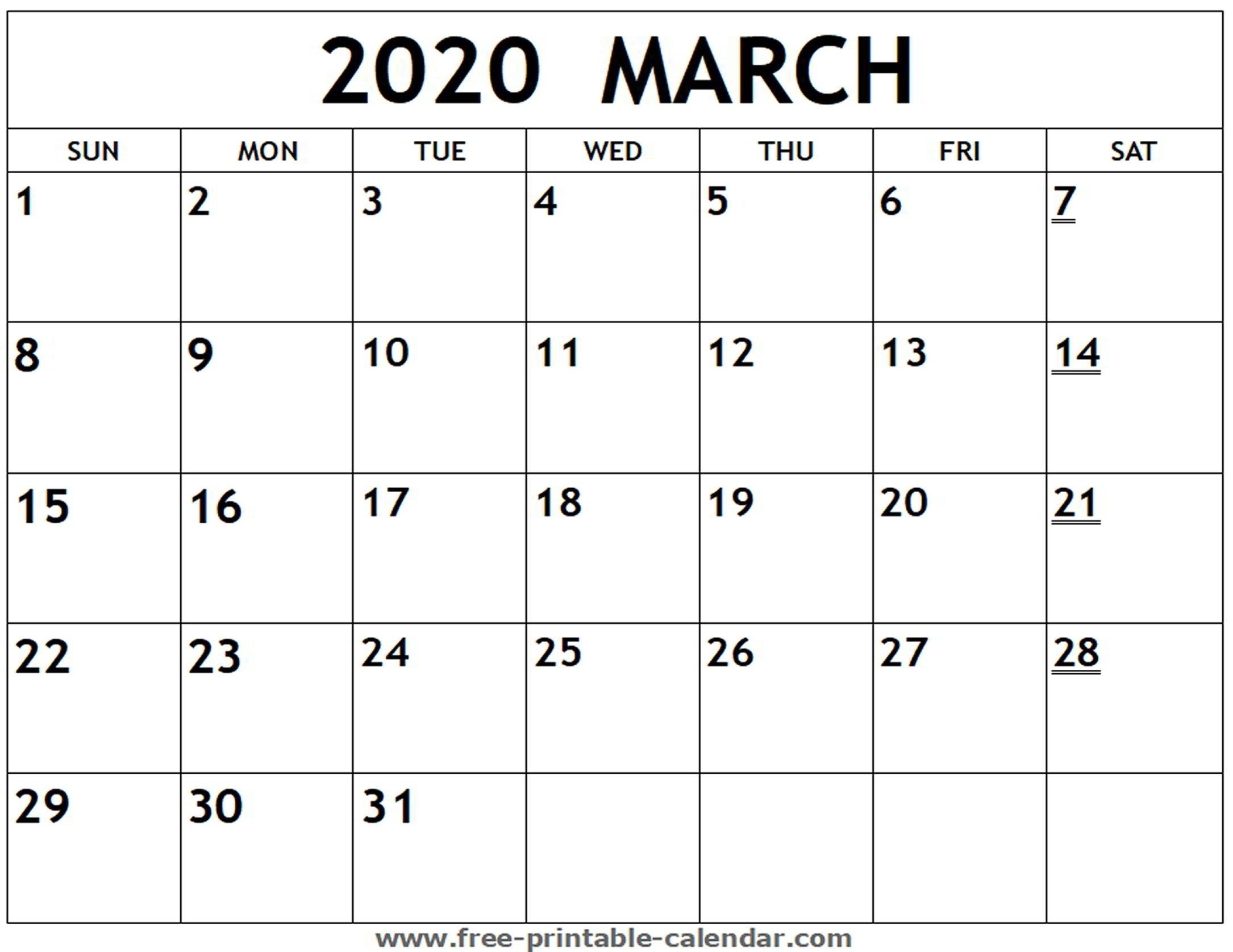 Fill In Blank Calendar 2020 | Free Calendar Template Example-Free Fill In Printable Calendar