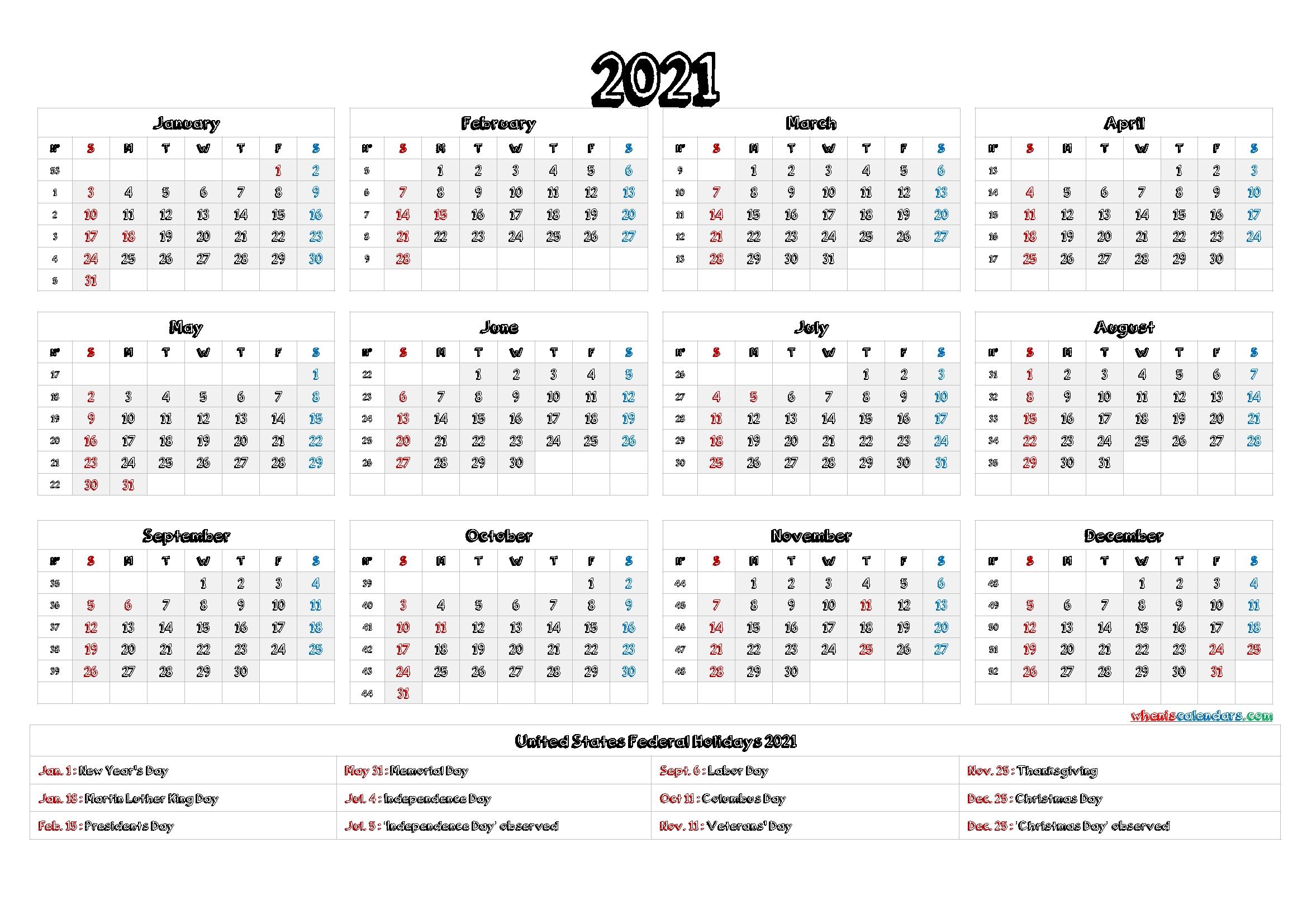 Free 2021 Calendar Printable With Holidays - 12 Templates | Free Printable 2020 Calendar With-2021 Calendar Fill In