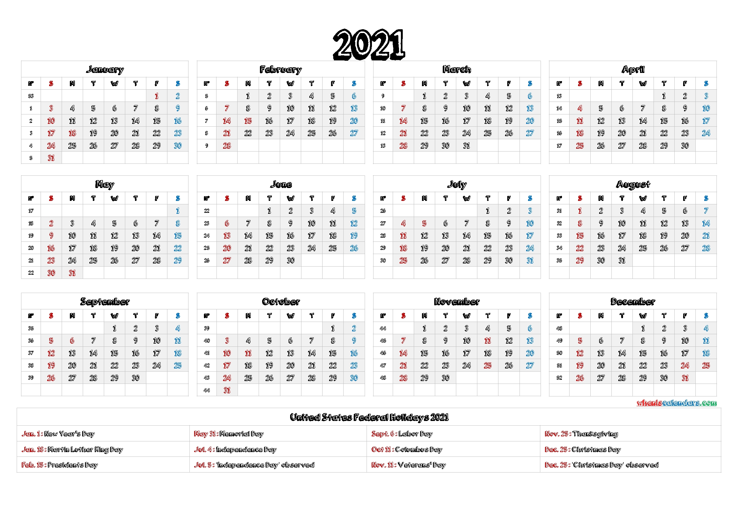 Free 2021 Calendar Printable With Holidays - 12 Templates | Free Printable 2020 Calendar With-Free Printable Fill In Calendars 2021