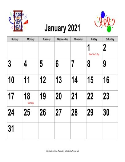 Free 2021 Large-Number Holiday Graphics Calendar, Landscape With Holidays-Large Number Flip Calendar 2021