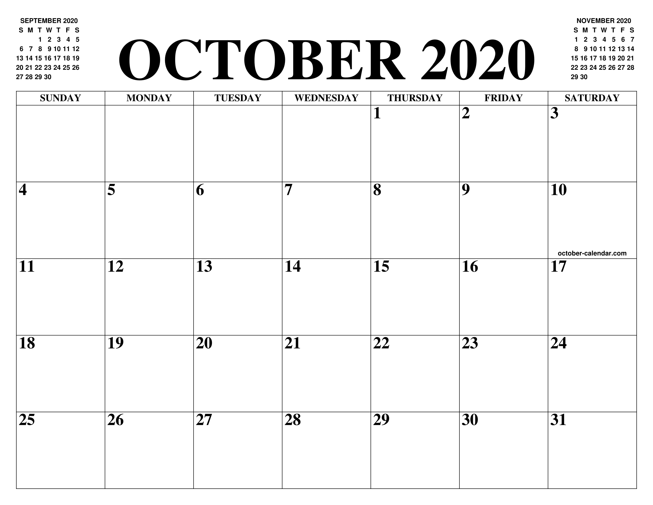 Free Blank Calendar For October 2020 Printable Fillable Template-2021 Printable Calendar From October Thru December