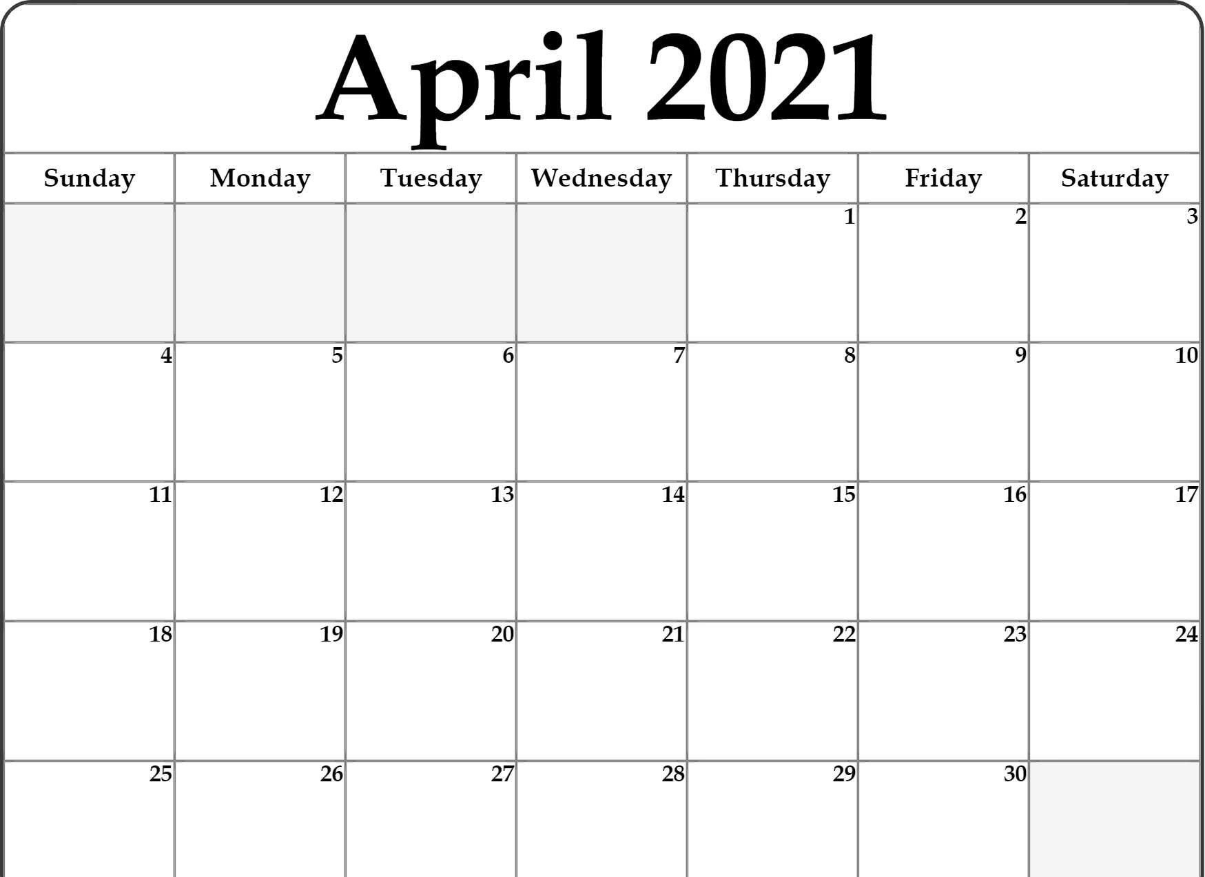 Free Monthly Blank April 2021 Calendar Printable Template-Print Free 2021 Calendar Without Downloading