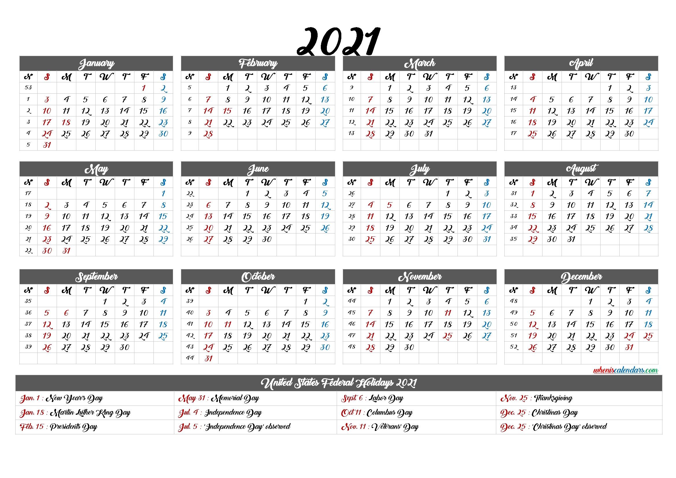 Free Printable 2021 Calendar With Holidays – 12 Templates – Free Printable 2020 Monthly Calendar-2021 Calendar Fill In