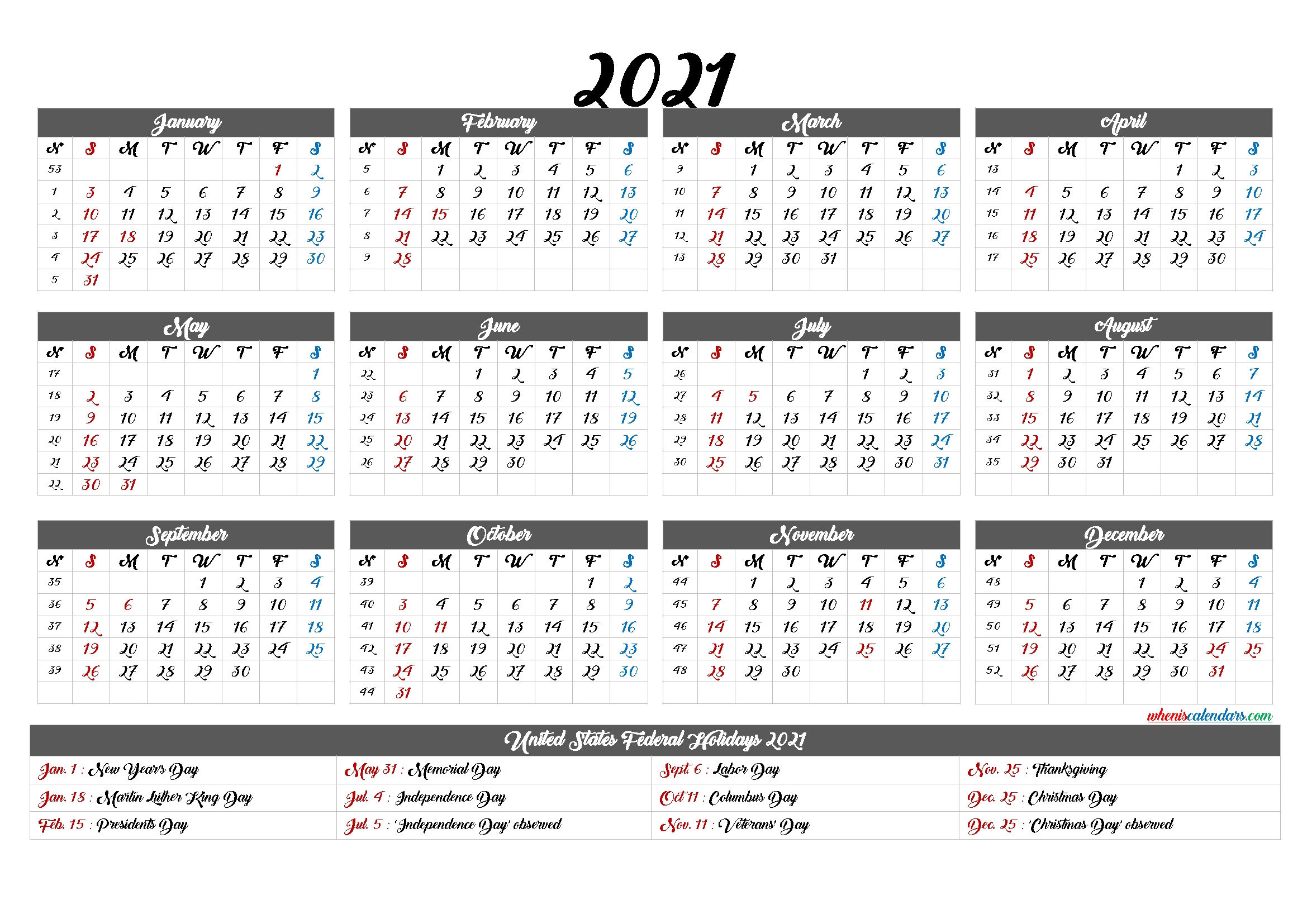 Free Printable 2021 Calendar With Holidays – 12 Templates – Free Printable 2020 Monthly Calendar-2021 Calendar To Fill In