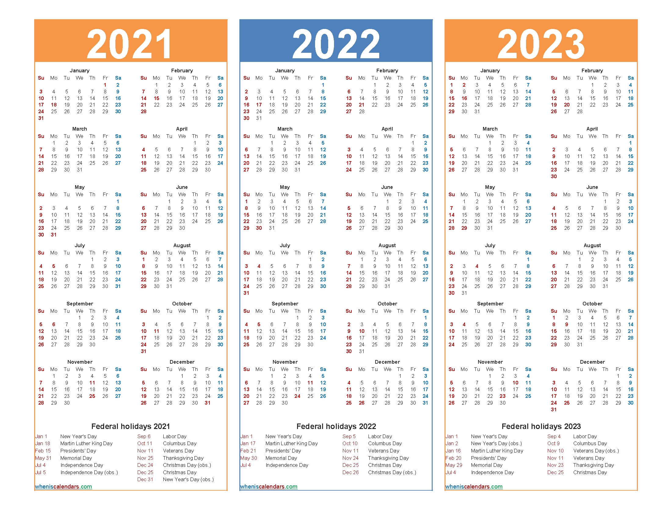 Free Printable 2021 To 2023 Calendar With Holidays – Free Printable 2020 Monthly Calendar With-3 Year Calendar 2021 To 2023
