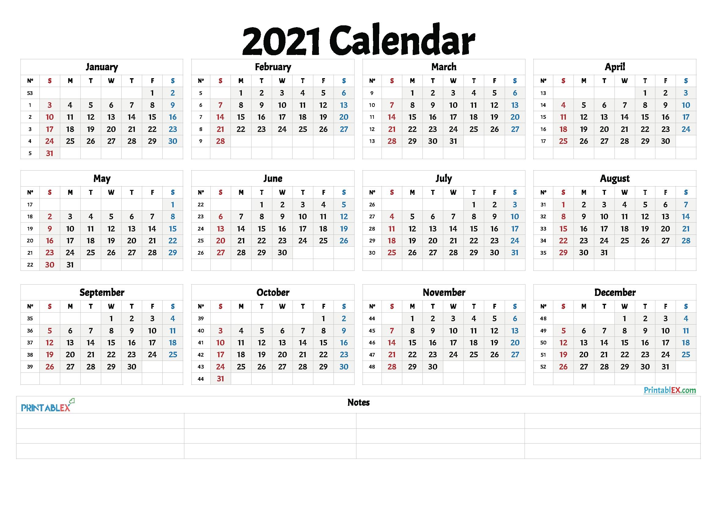 Free Printable 2021 Yearly Calendar With Week Numbers – 21Ytw12 In 2020 | Free Printable-2021 Calnder By Week No Excel