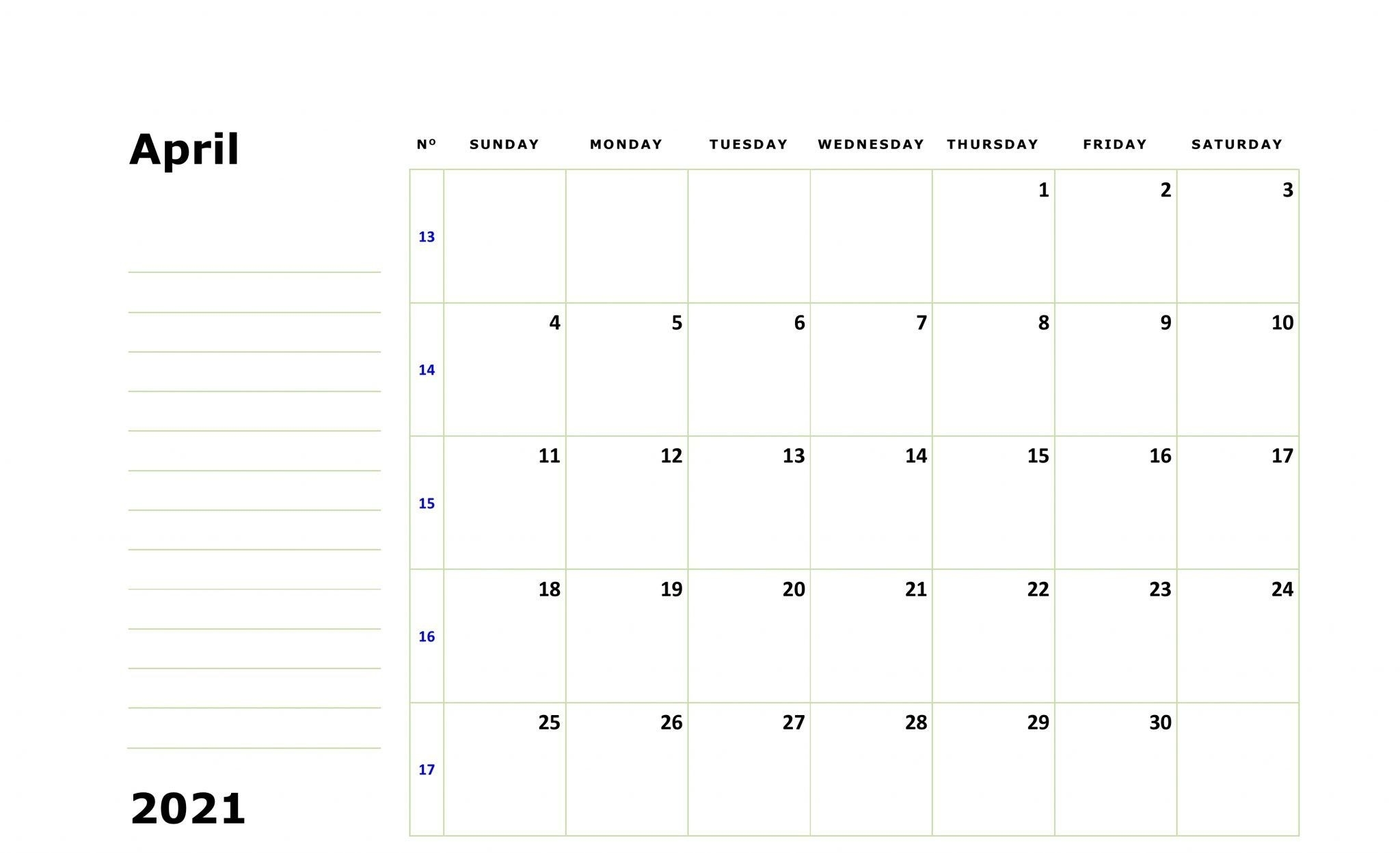 Free Printable April 2021 Calendar Monthly Template In 2020 | Monthly Calendar Template, 2021-Free Fillable Calendars 2021