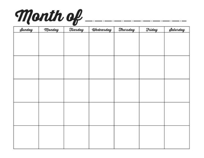 Free Printable Blank Calendars To Fill In :-Free Calendar Template-Free Fill In Printable Calendar