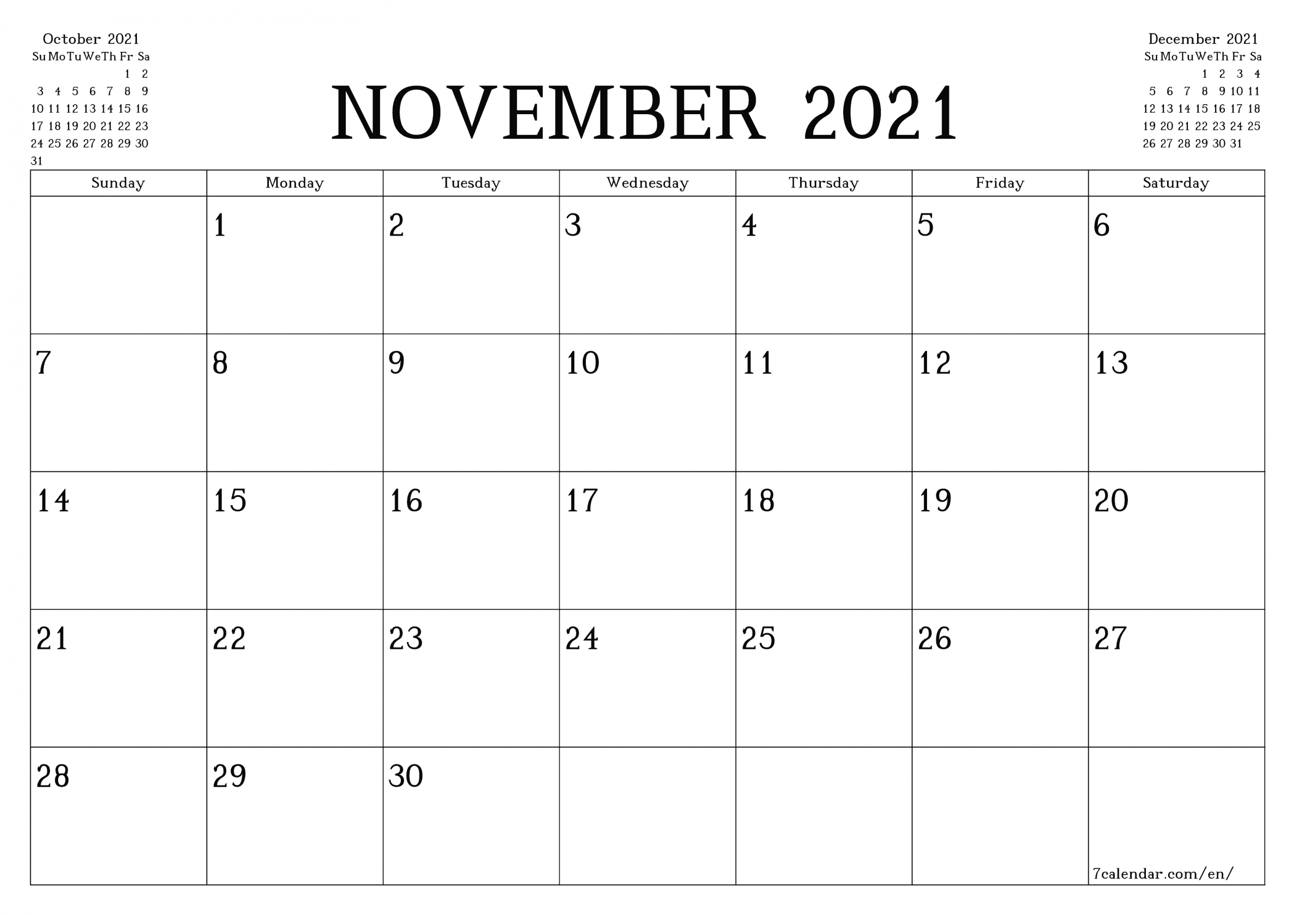 Free Printable Blank Monthly Calendar And Planner For November 2021 - A4, A5 And A3 Pdf And Png-2021 4 Shift Calendar