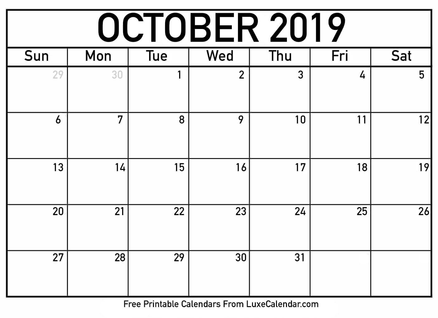 Free Printable Calendar Numbers For December | Ten Free Printable Calendar 2020-2021-Large Numbers Calendar October
