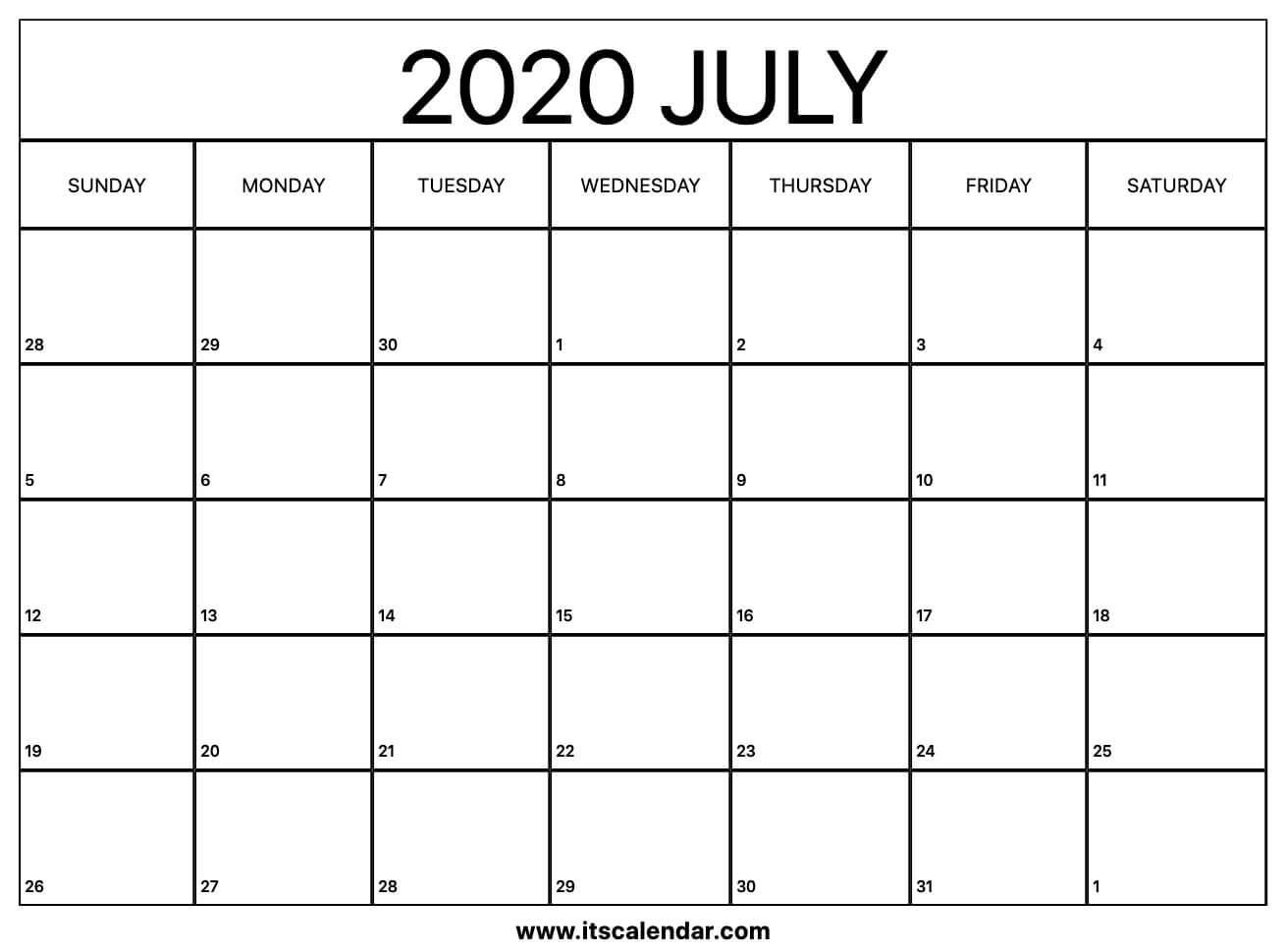 Free Printable July 2020 Calendar-Free Fill In Printable Calendars