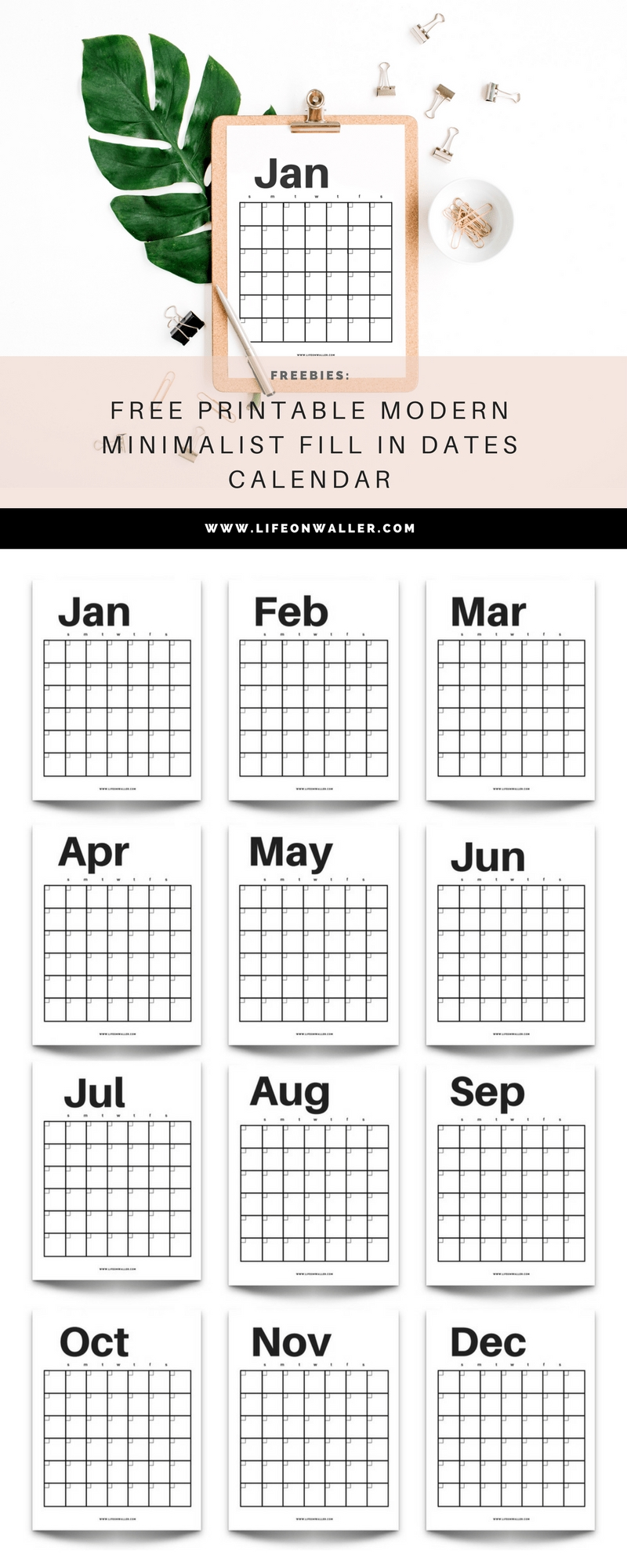Free Printable Modern Minimalist Fill In Calendar - Use For Any Year - Cassie Scroggins-Free Fill In Printable Calendar