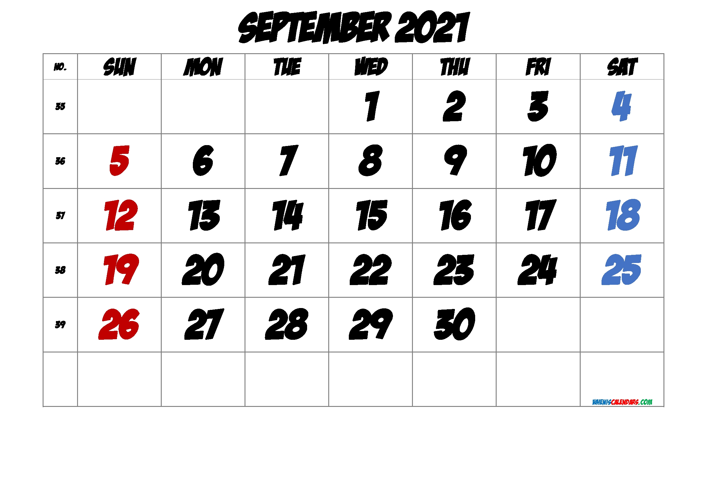 Free September 2021 Calendar [Free Premium] In 2020 | 2021 Calendar, Calendar Printables-Sepetember 2021 Calendar With Big Numbers
