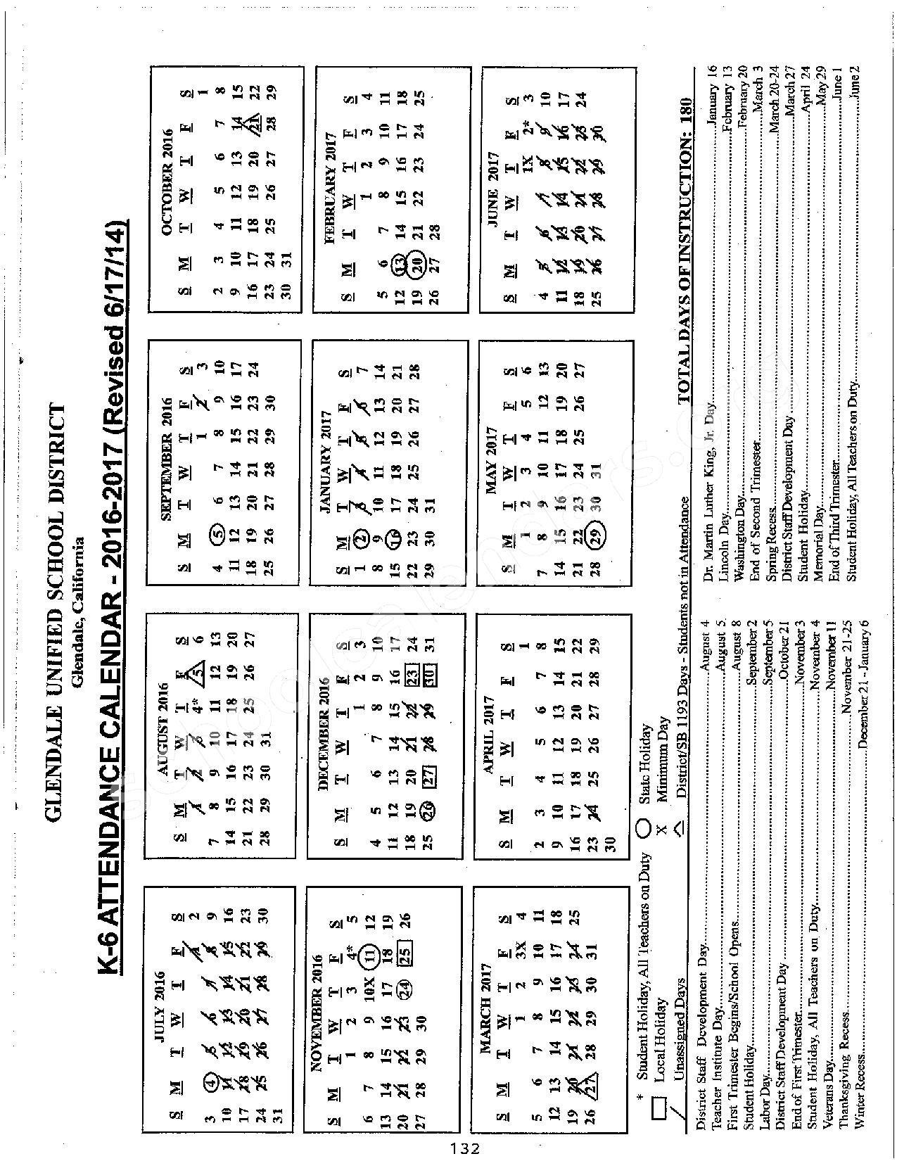 Glendale Unified School District Calendar | Calendar Fall 2020-Hfd October 2021 Shift Calendar