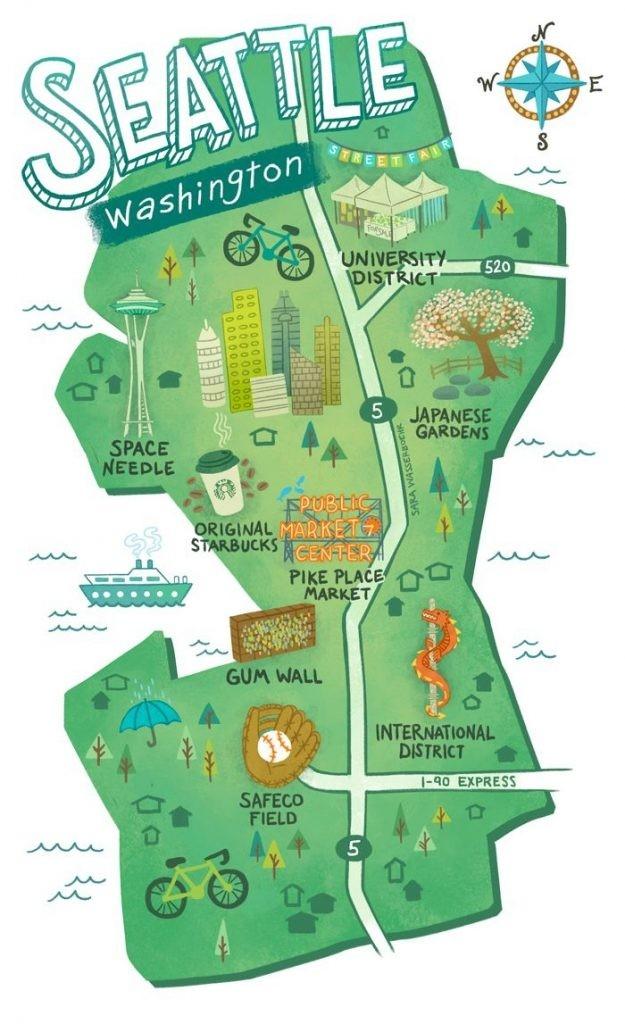 Illustrated Maps Of Atlanta, Ga, Austin, Tx, And Seattle, Wa For The - Texas Rut Map | Printable-Georgia Rut Map 2021