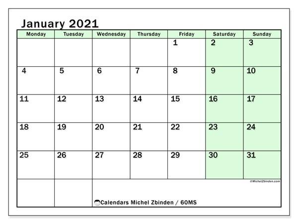 January 2021 Calendar (60Ms) - Michel Zbinden En-Sunday To Saturday Calendar 2021 Printable