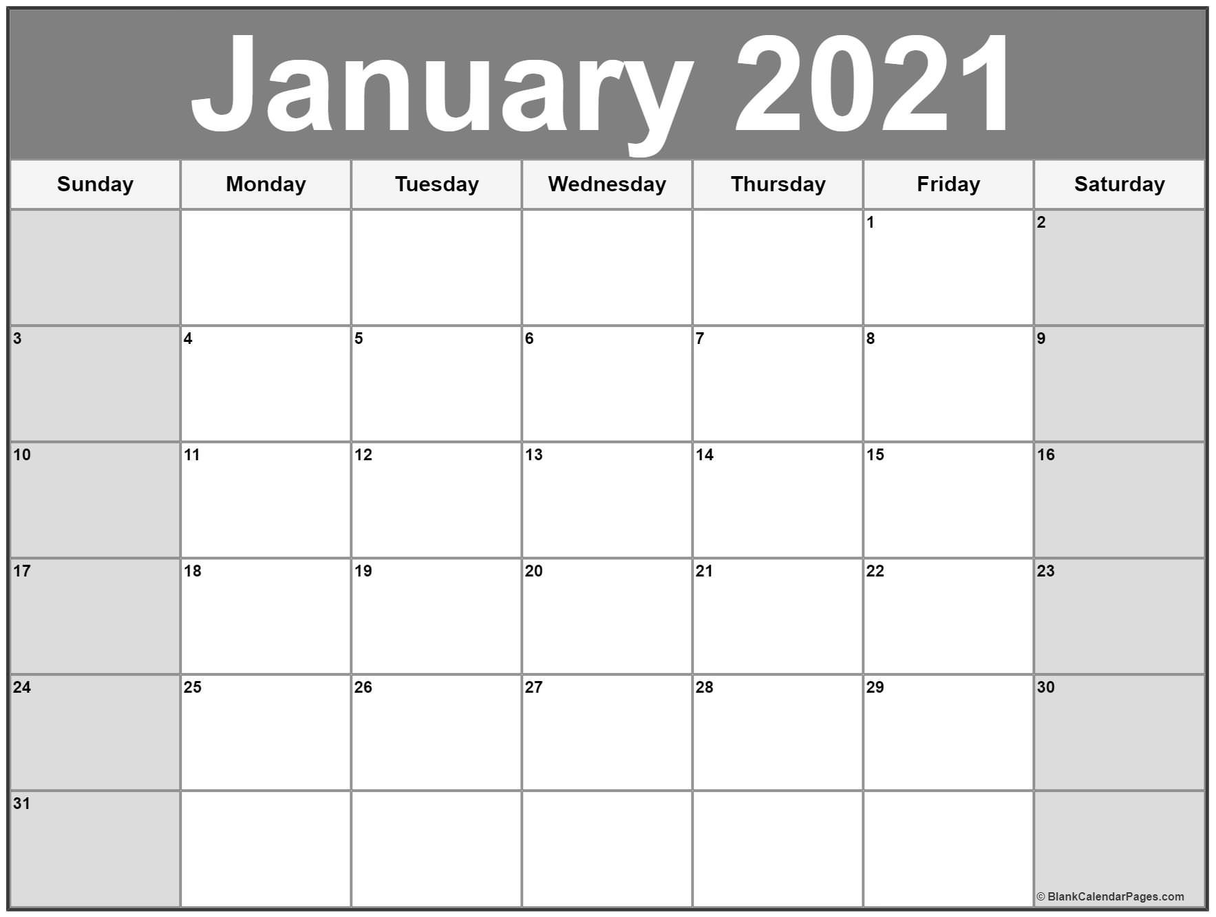 January 2021 Calendar | Free Printable Monthly Calendars-2021 Print Free Calendars Without Downloading