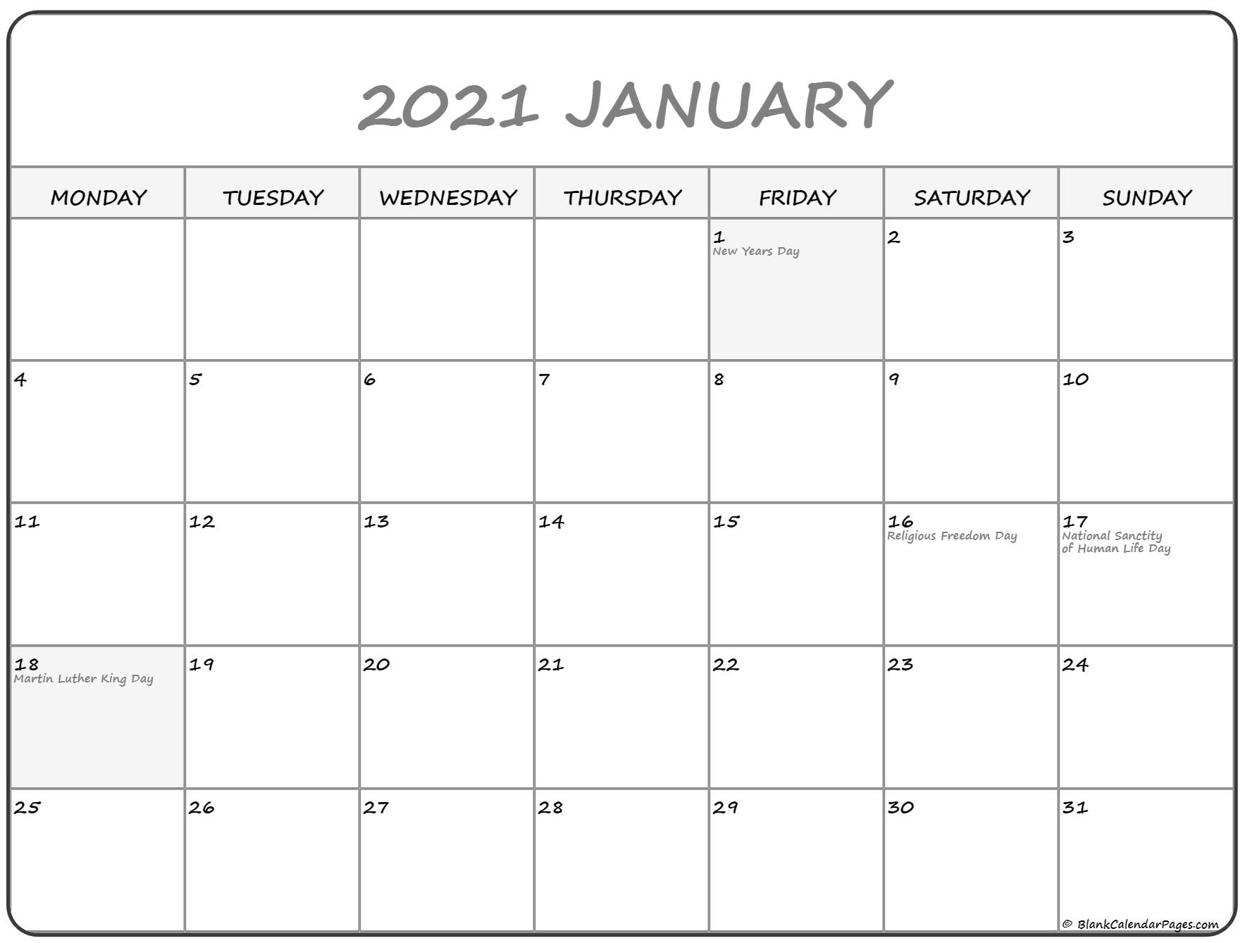 January 2021 Monday Calendar | Monday To Sunday-Sunday To Saturday Calendar 2021 Printable