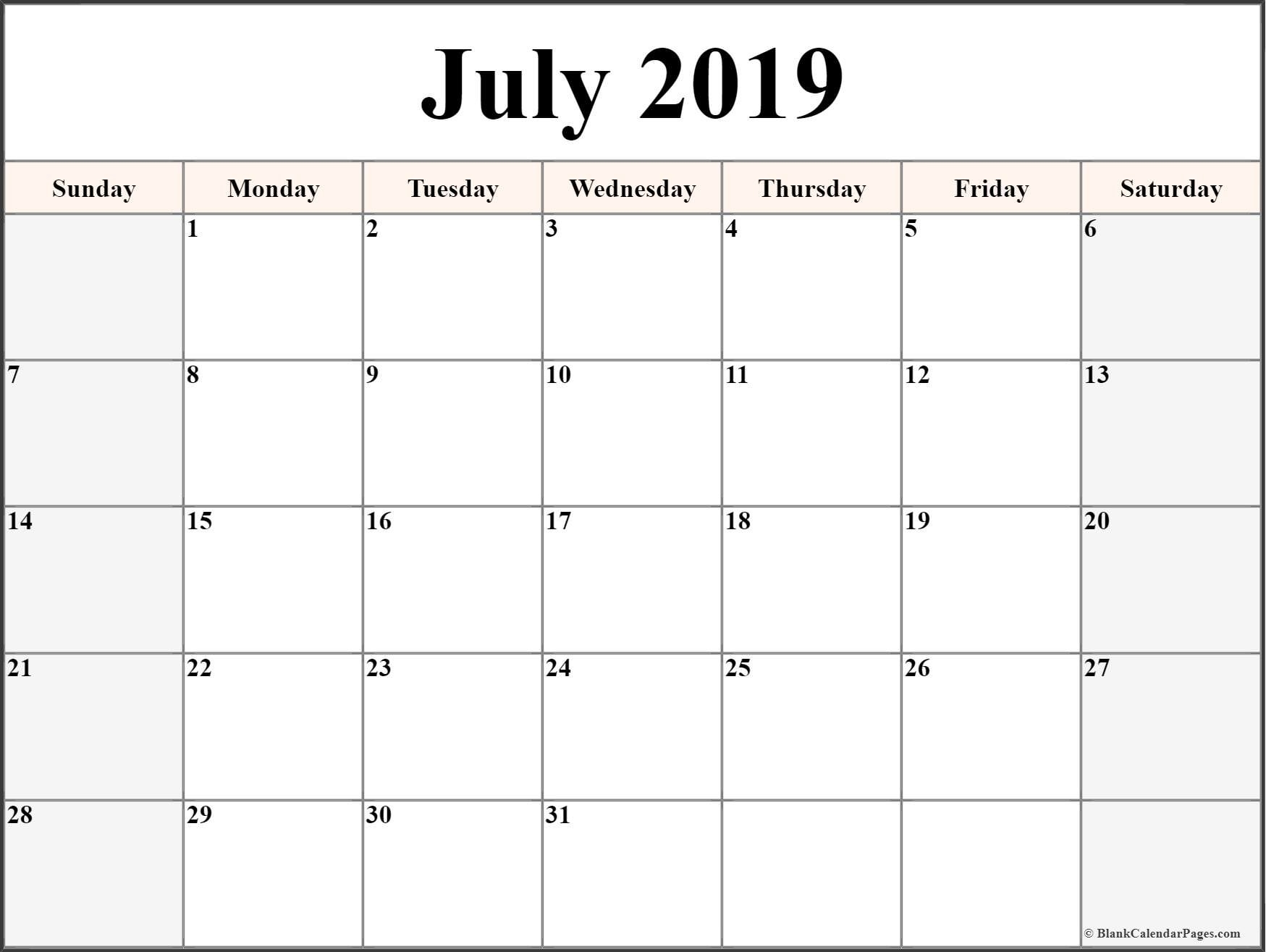 July 2019 Blank Calendar Collection.-Free Fill In Printable Calendars