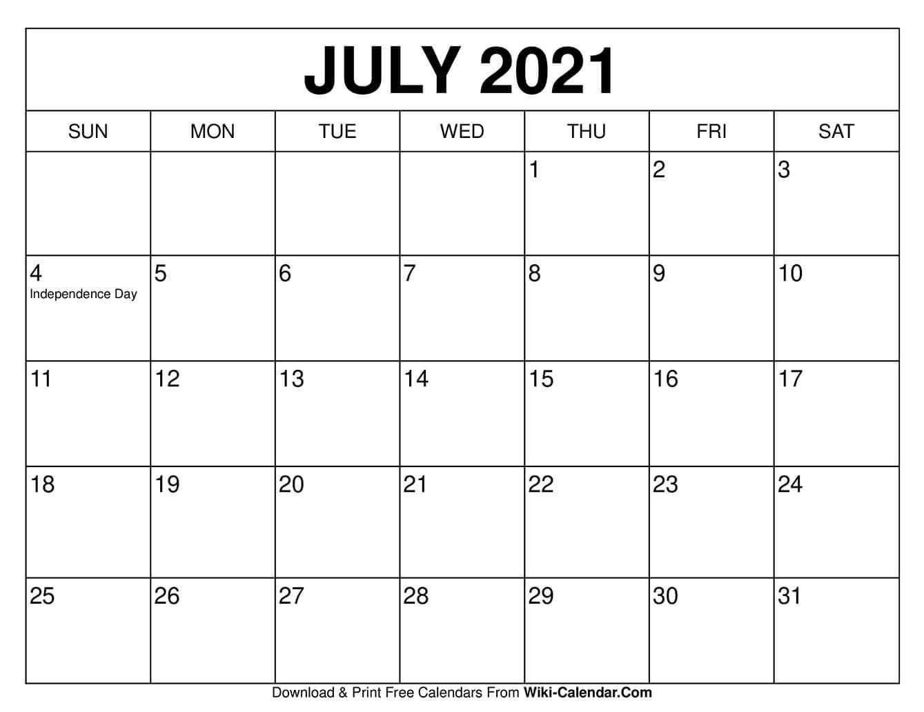 July 2021 Calendar - Free Download Printable Calendar Templates-Free Fillable Calendars 2021