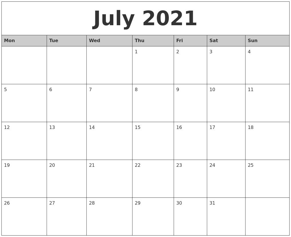 July 2021 Monthly Calendar Printable-Sunday To Saturday Calendar 2021 Printable