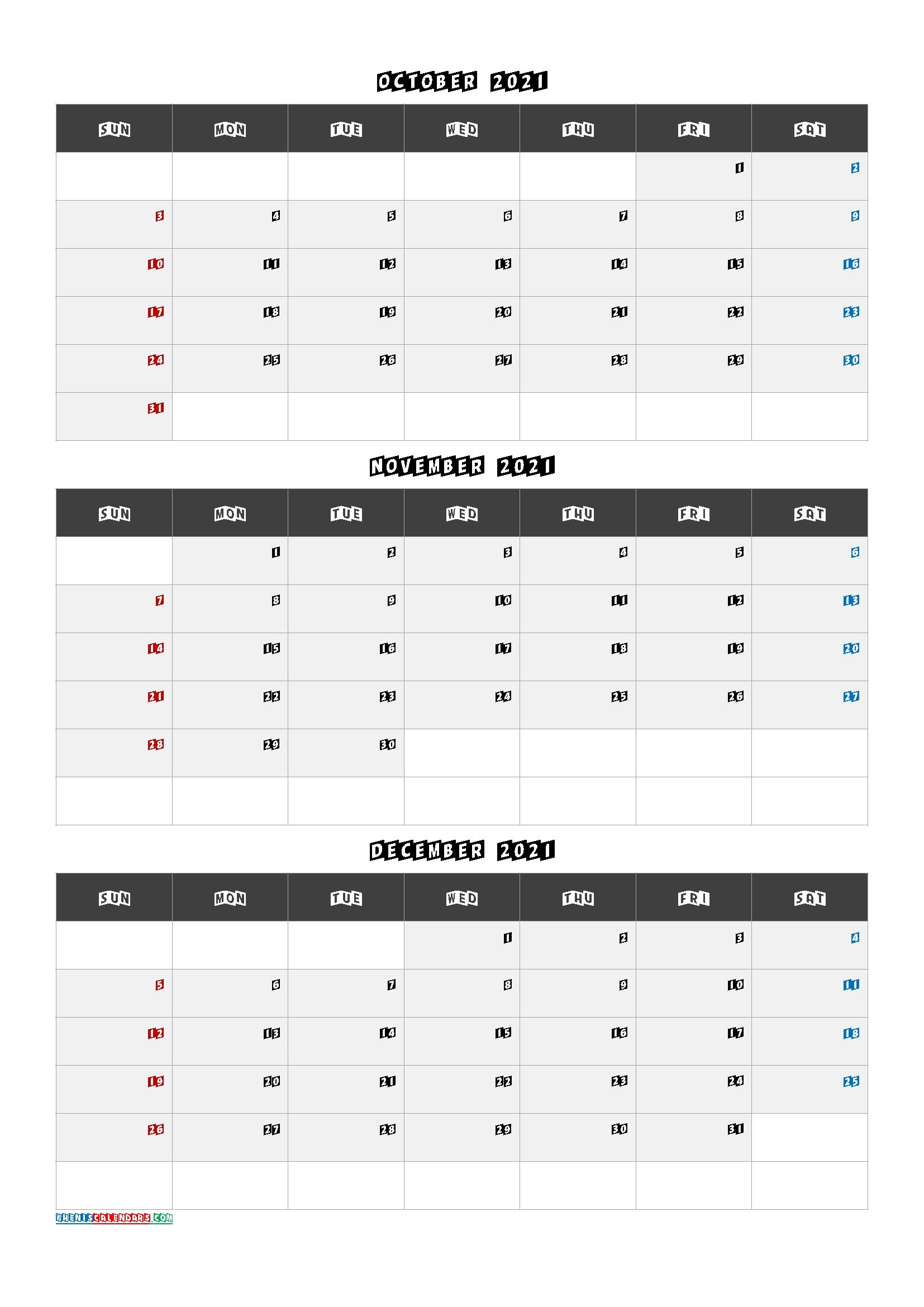 July August September 2021 Calendar Template [Q1-Q2-Q3-Q4] | Free Printable 2020 Calendar With-2021 Printable Calendar From October Thru December