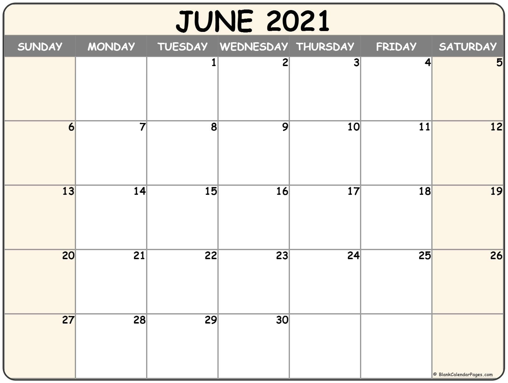 June 2021 Calendar | Free Printable Monthly Calendars-Sepetember 2021 Calendar With Big Numbers