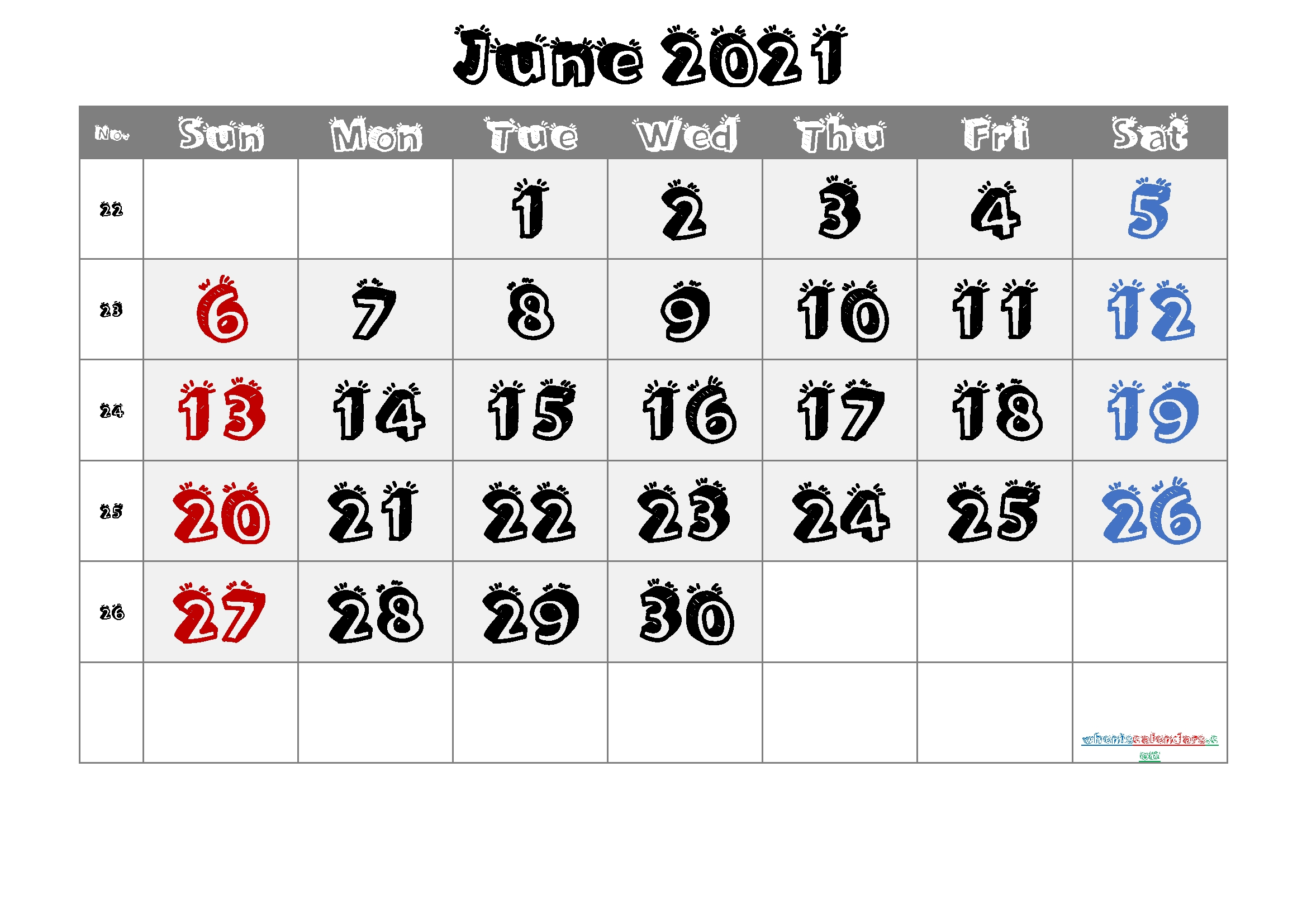 June 2021 Printable Calendar With Week Numbers – 6 Templates – Free Printable 2020 Monthly-Sepetember 2021 Calendar With Big Numbers