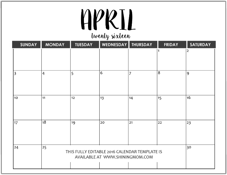 Just In: Fully Editable 2016 Calendar Templates In Ms Word Format-Printable Fill In Calendar By Month
