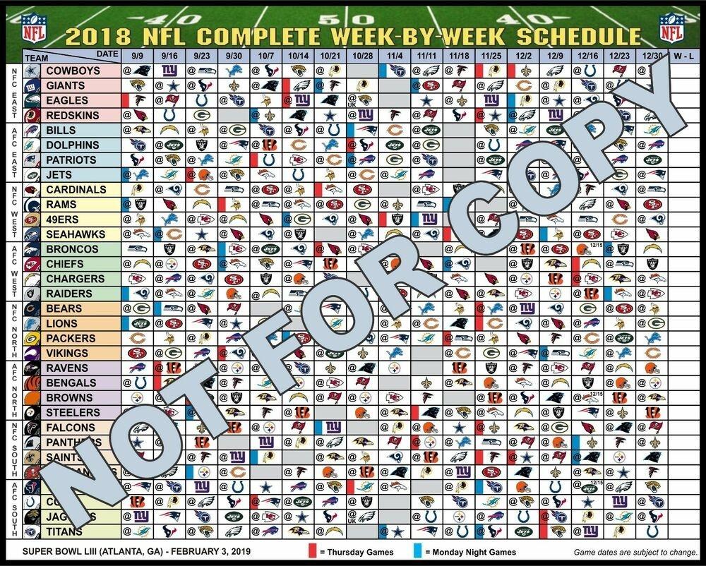Large 2017 Nfl Complete Week-By-Week Football Schedule Magnet - No Times | Ebay-1 Page Printable Nfl Schedule