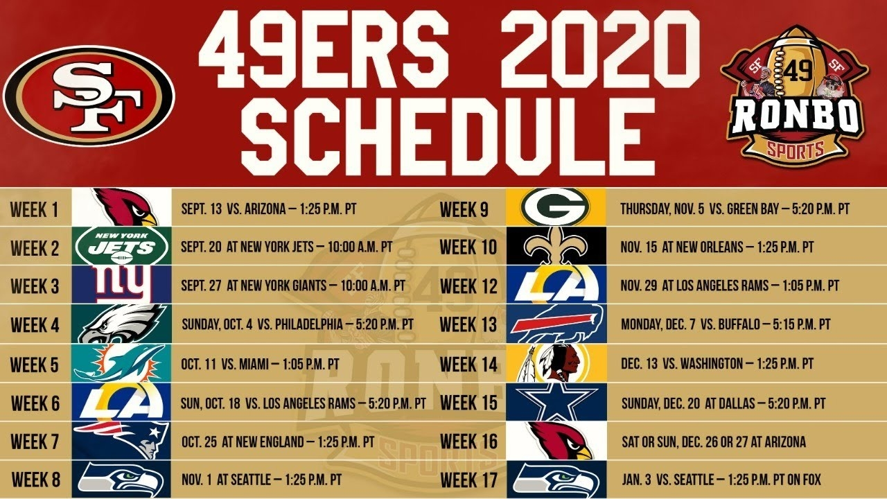 Live! 49Ers Fans Predictions & Reactions To 2020 Regular Season Schedule - Youtube-2021 Nfl Football Schedule Printable